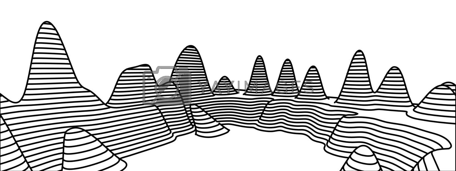 Topographical map of the locality, vector illustration with lines