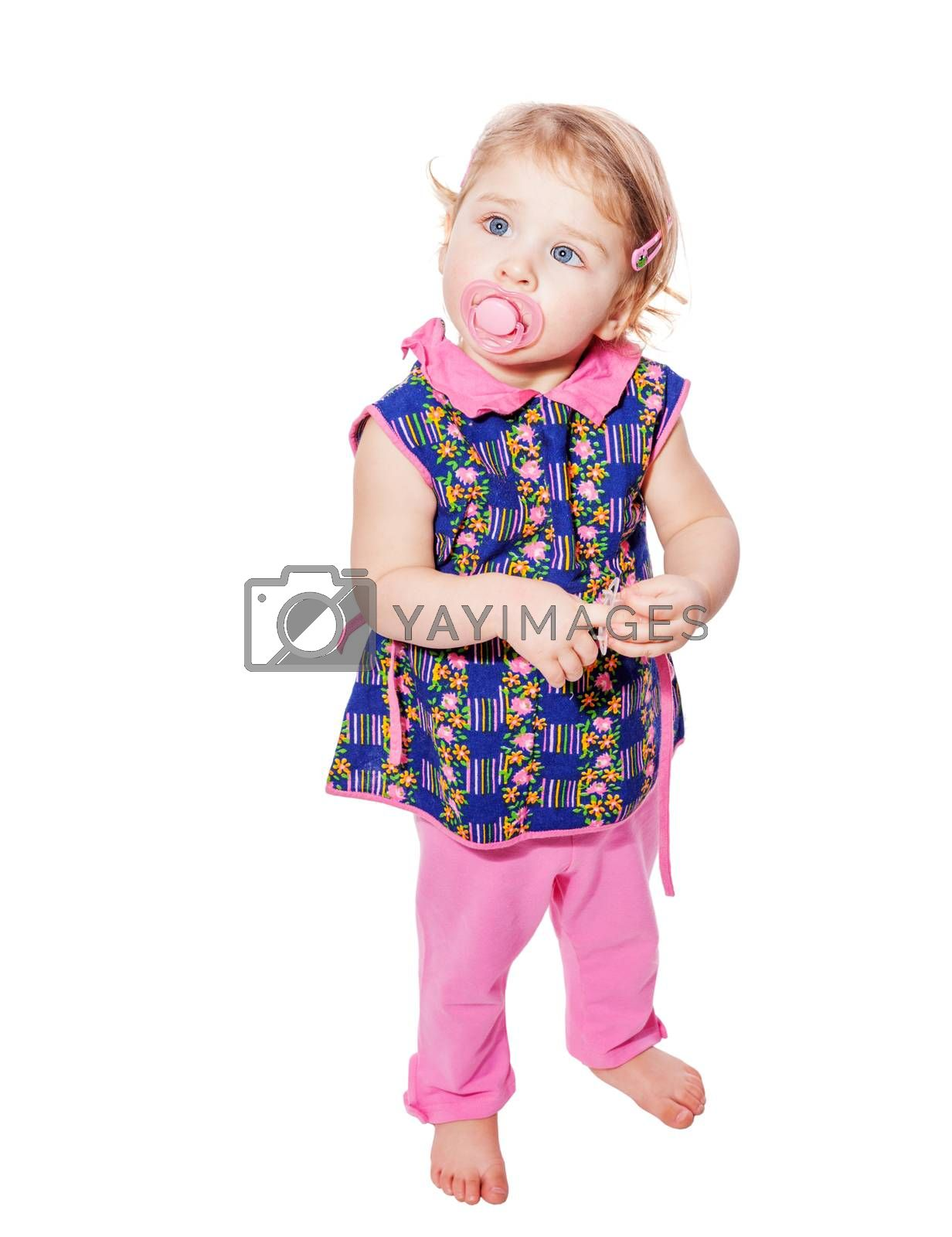 Little girl wearing pink clothes isolated on white