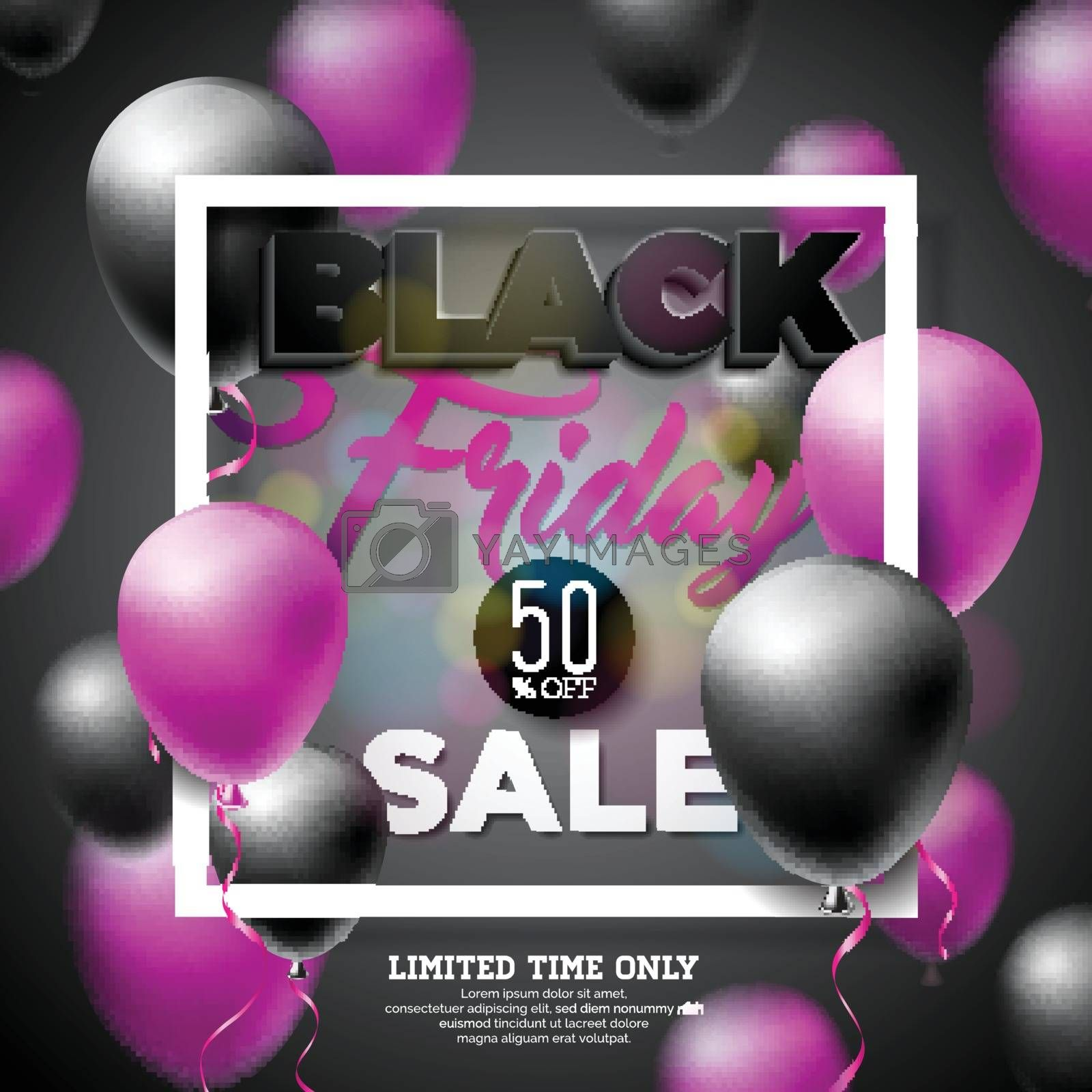 Black Friday Sale Vector Illustration with Shiny Balloons on Dark Background. Promotion Design Template for Banner or Poster