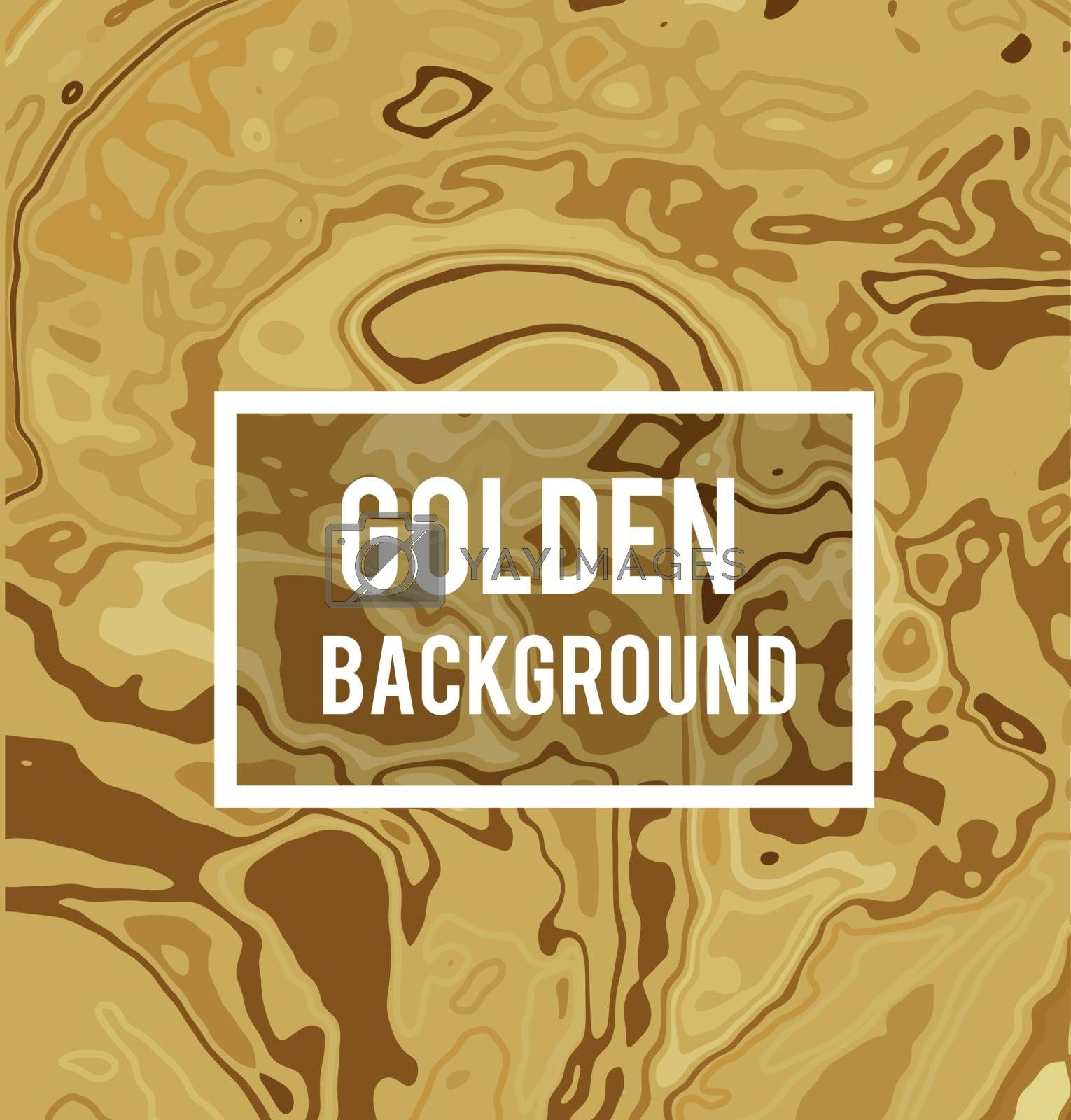 Golden vector background in marble ink style. Effect of a flowing liquid metal