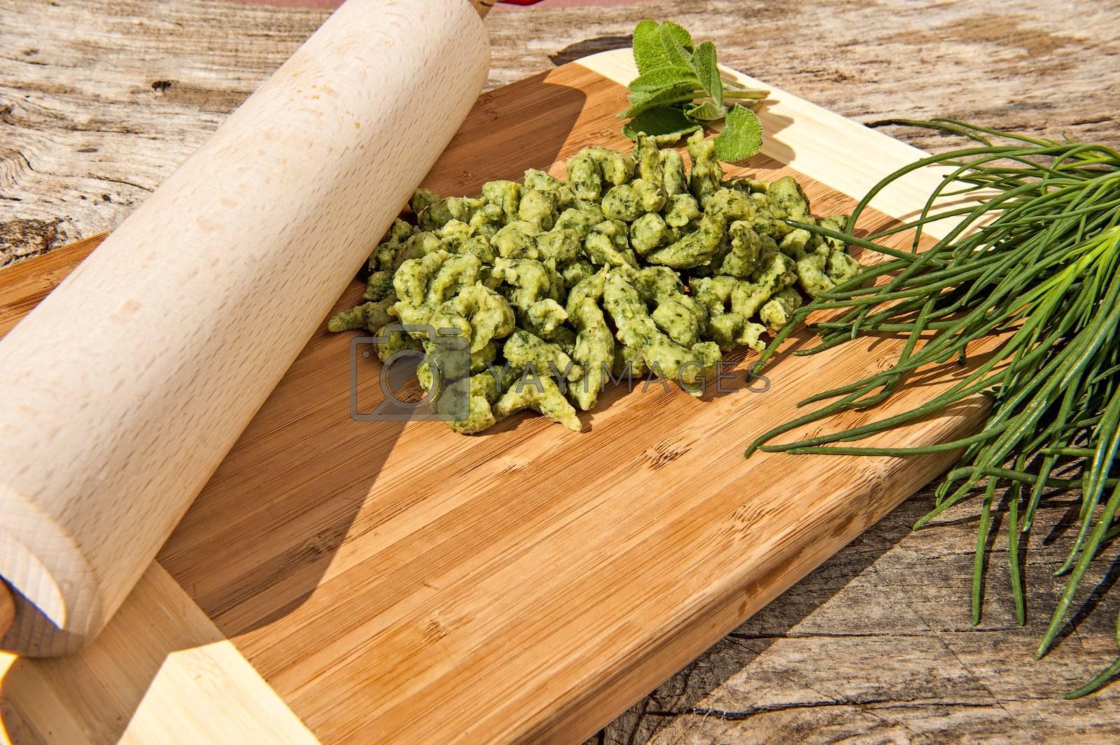 some dumplings fresh vegetables and aromatic herbs
