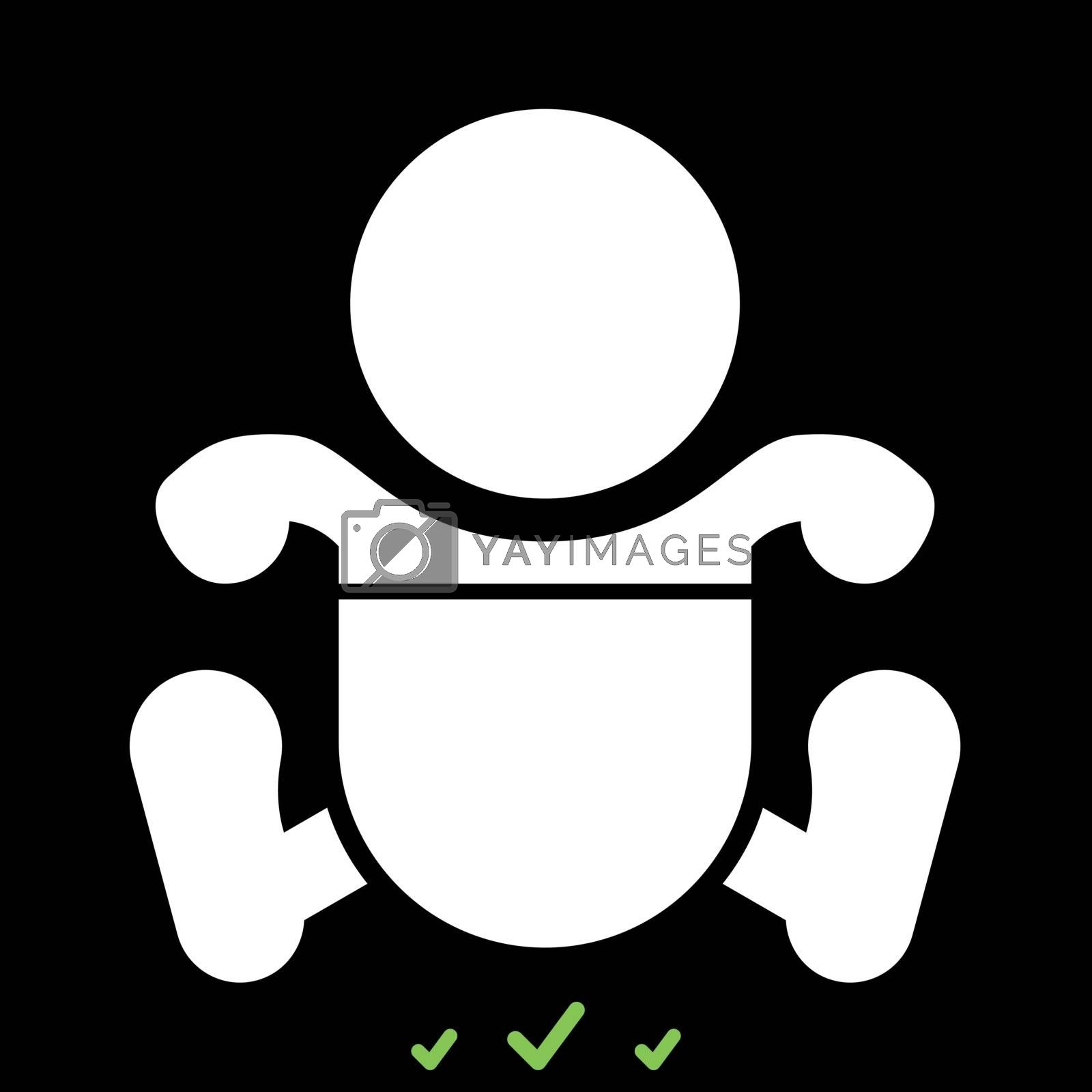 Toddler boy with diapers it is white icon . Flat style
