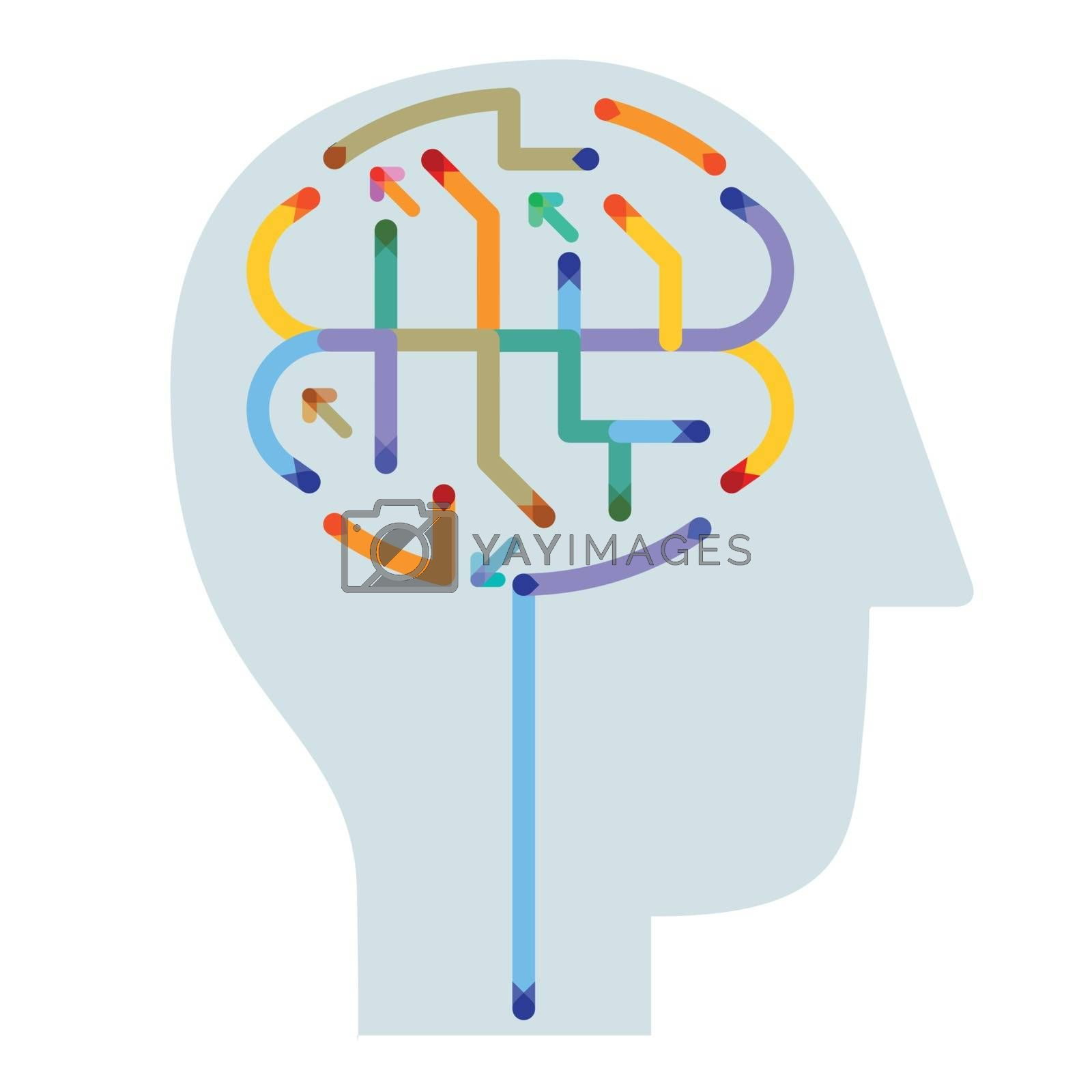 think, brain symbol illustration