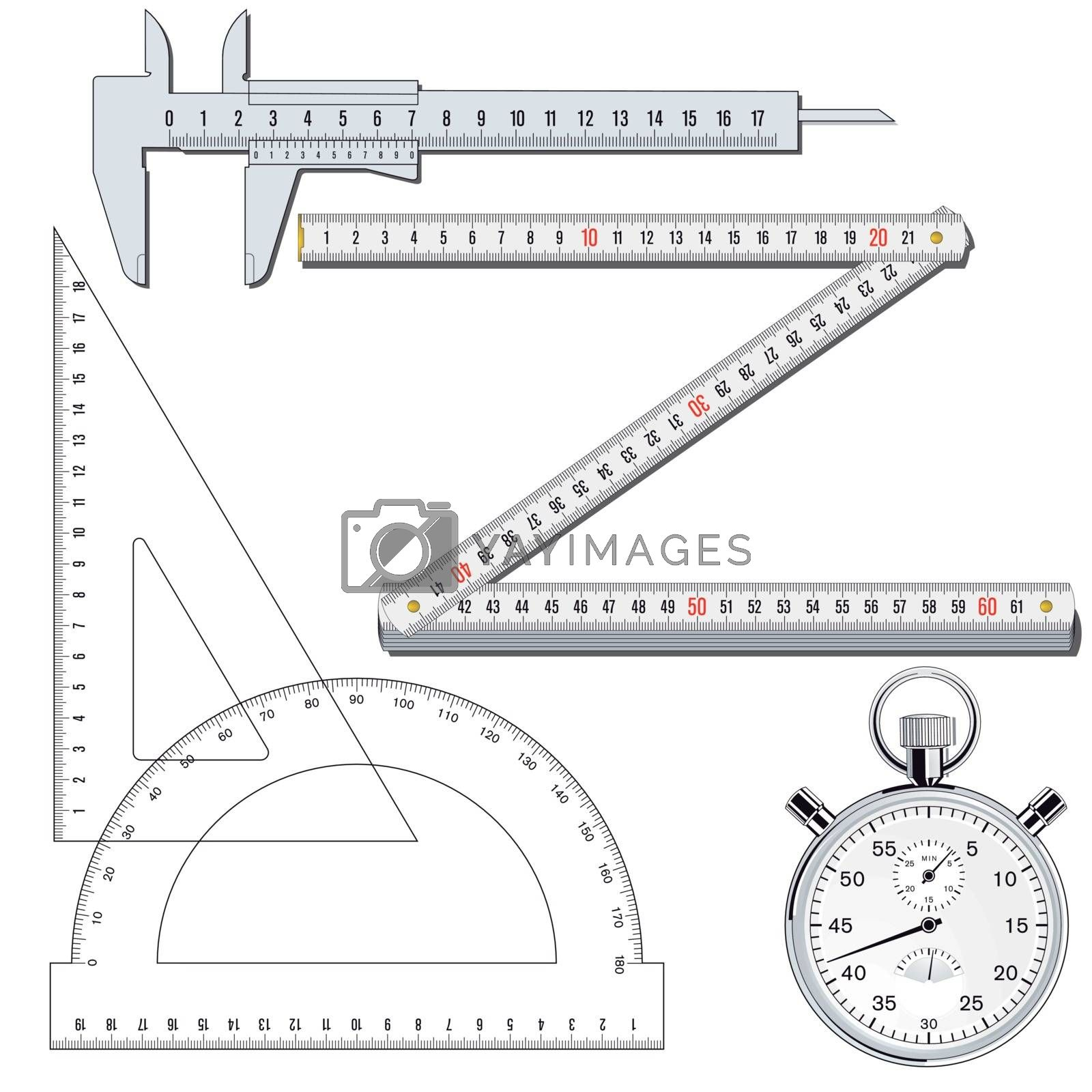Measuring tools collection, illustration