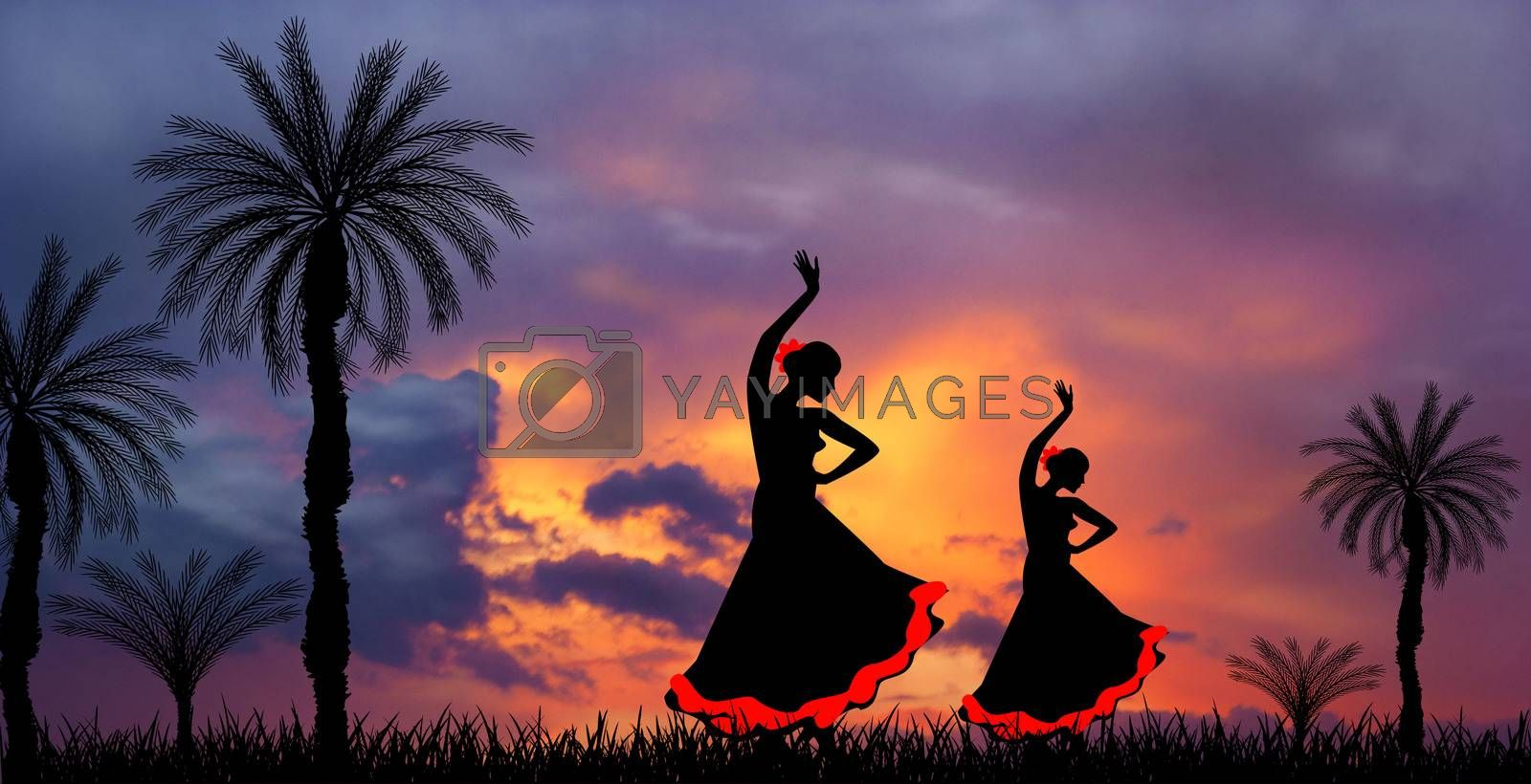 Two girls are dancing flamenco. Silhouettes of girls dancing flamenco. Sunset shines before a thunderstorm.