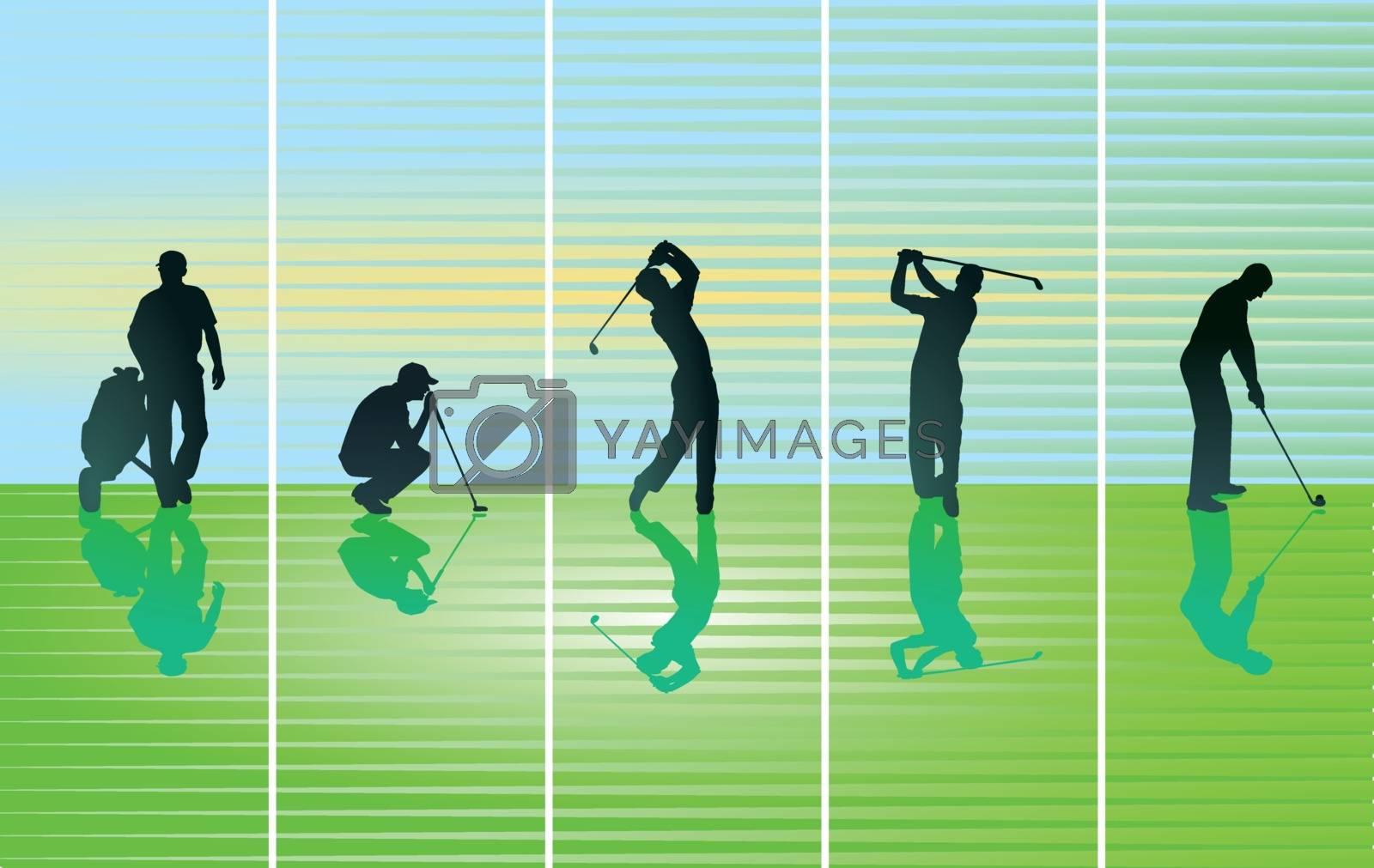 Golfer on green, illustration