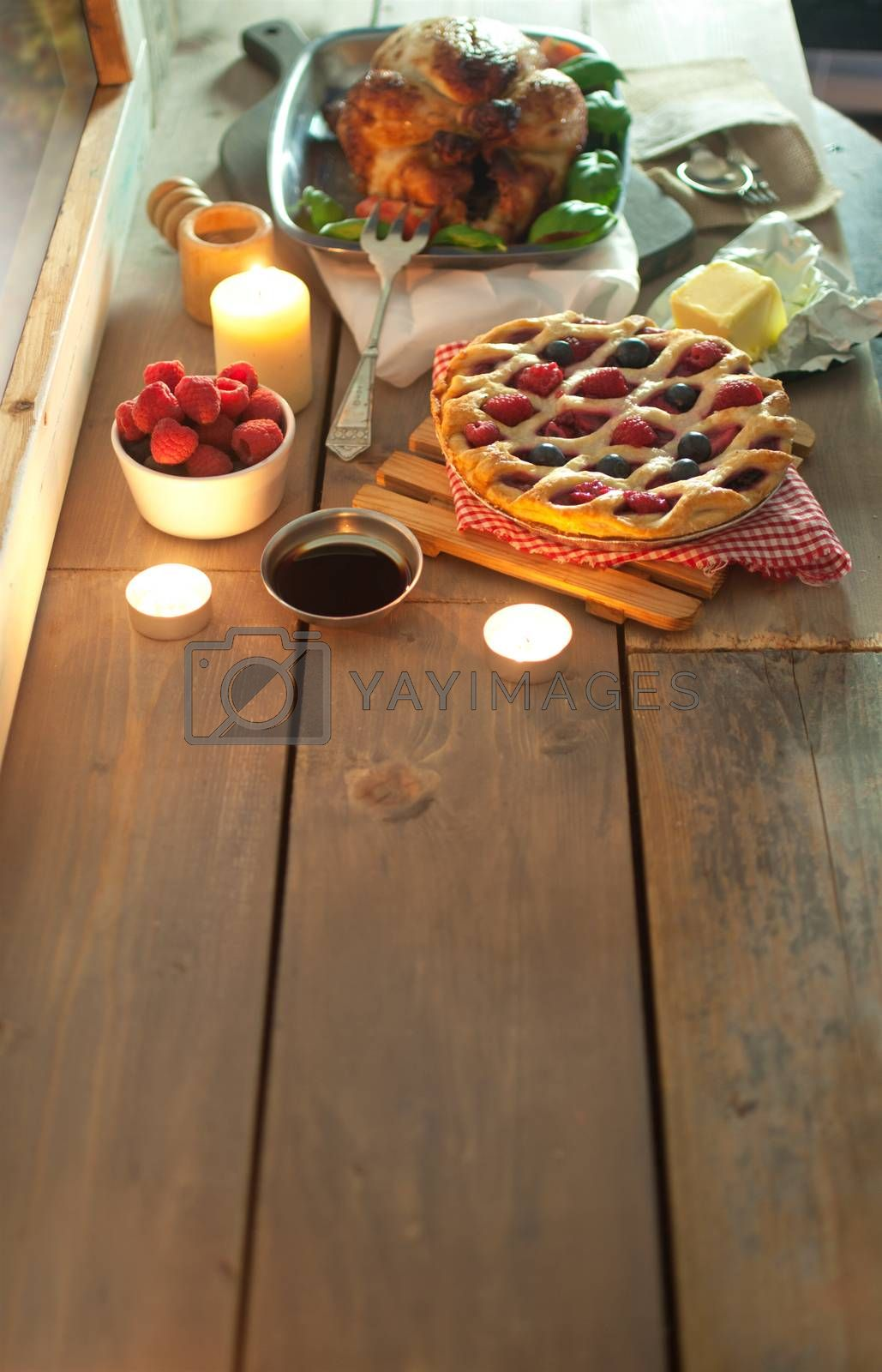 Xmas food spread on a wooden table with space