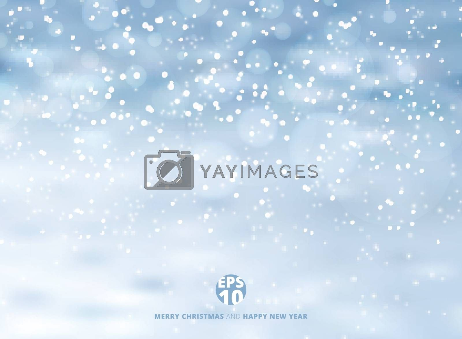 Winter background with snow on christmas holiday and new year. Vector illustration. Copy space