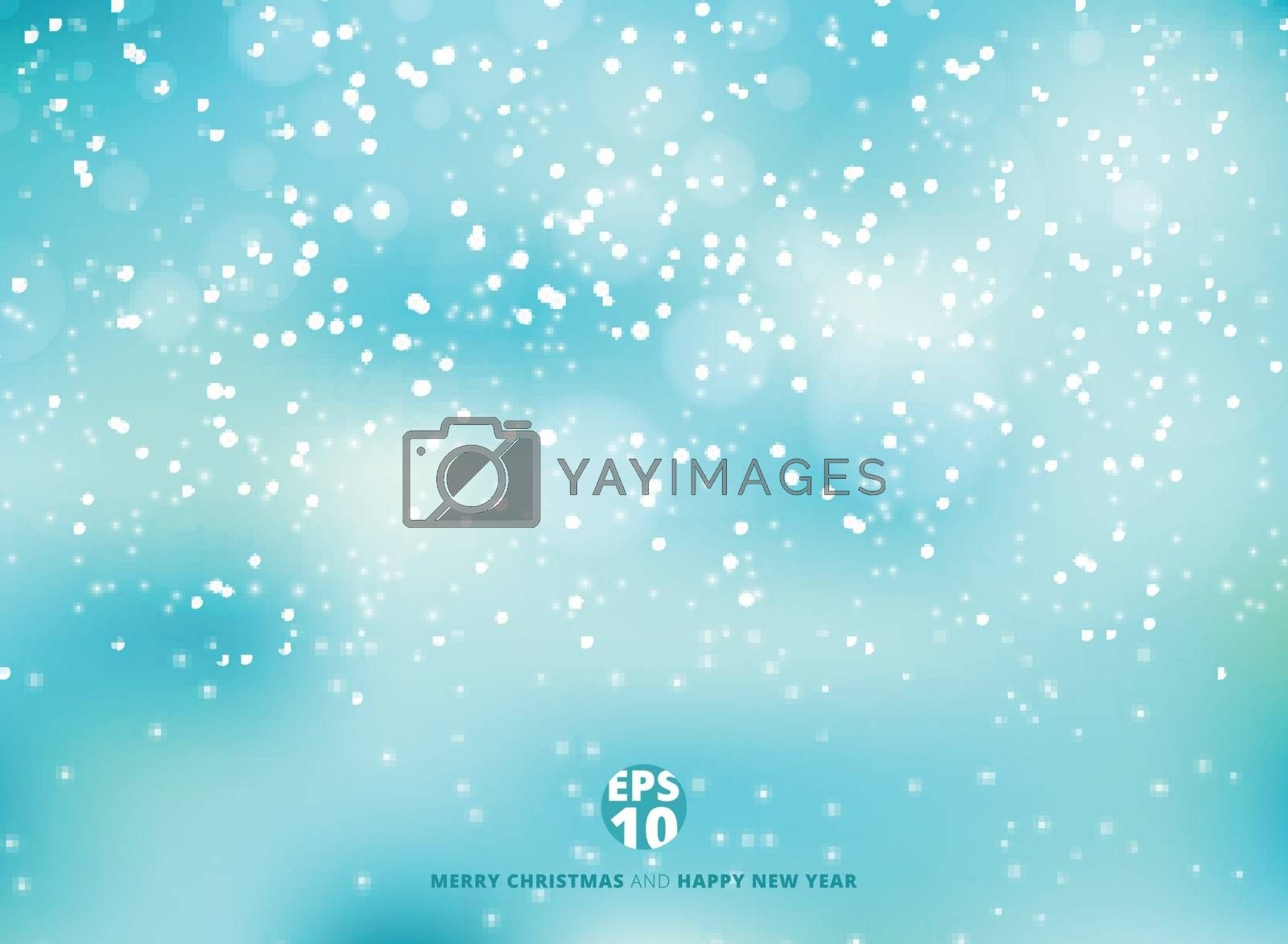 Winter blue background with snow on christmas holiday and new year. Vector illustration. Copy space