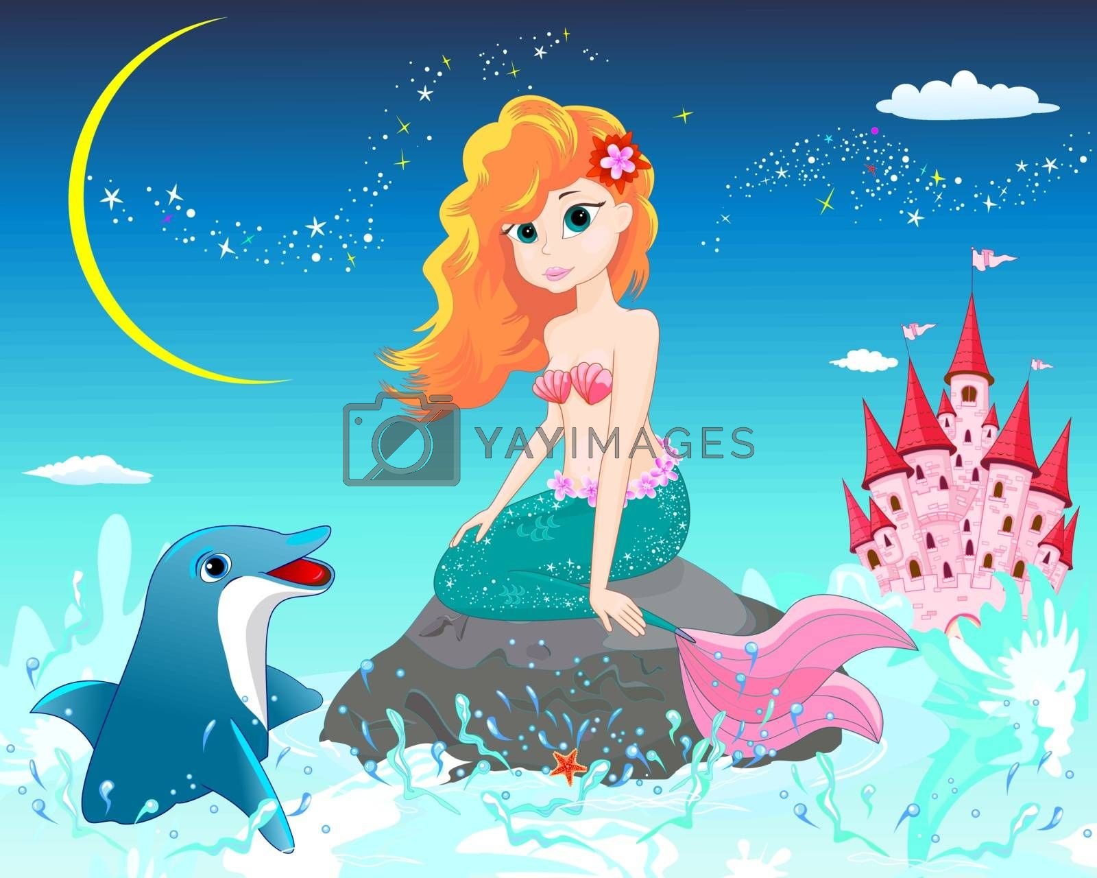 A beautiful mermaid sits on a sea stone. Mermaid and dolphin on a background of a night starry sky.