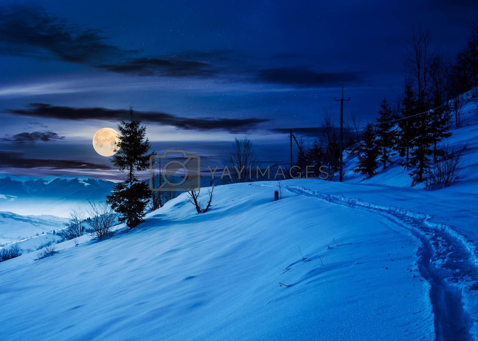 rural footpath through snowy hillside at night by Pellinni