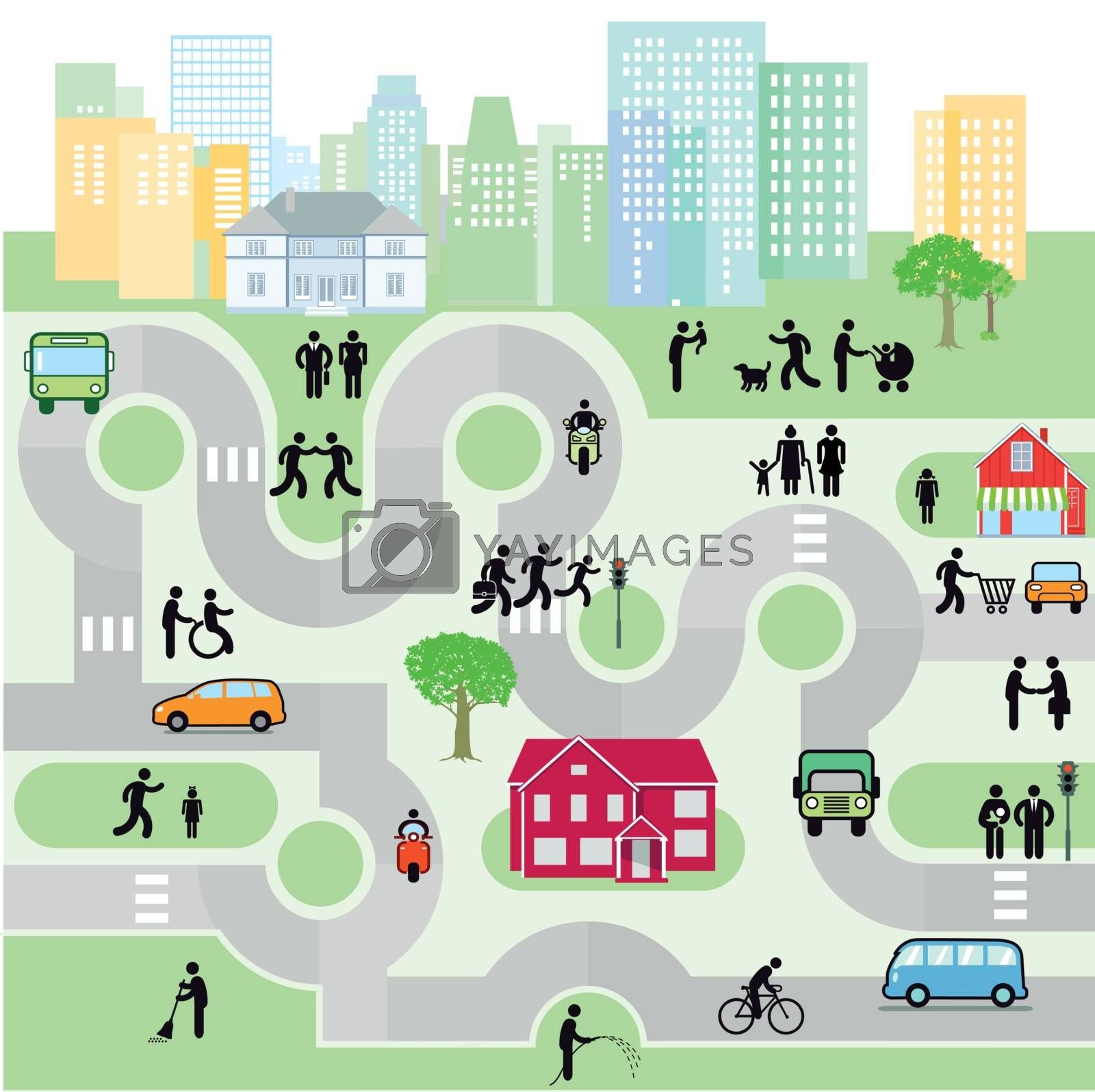 City with pedestrians and traffic