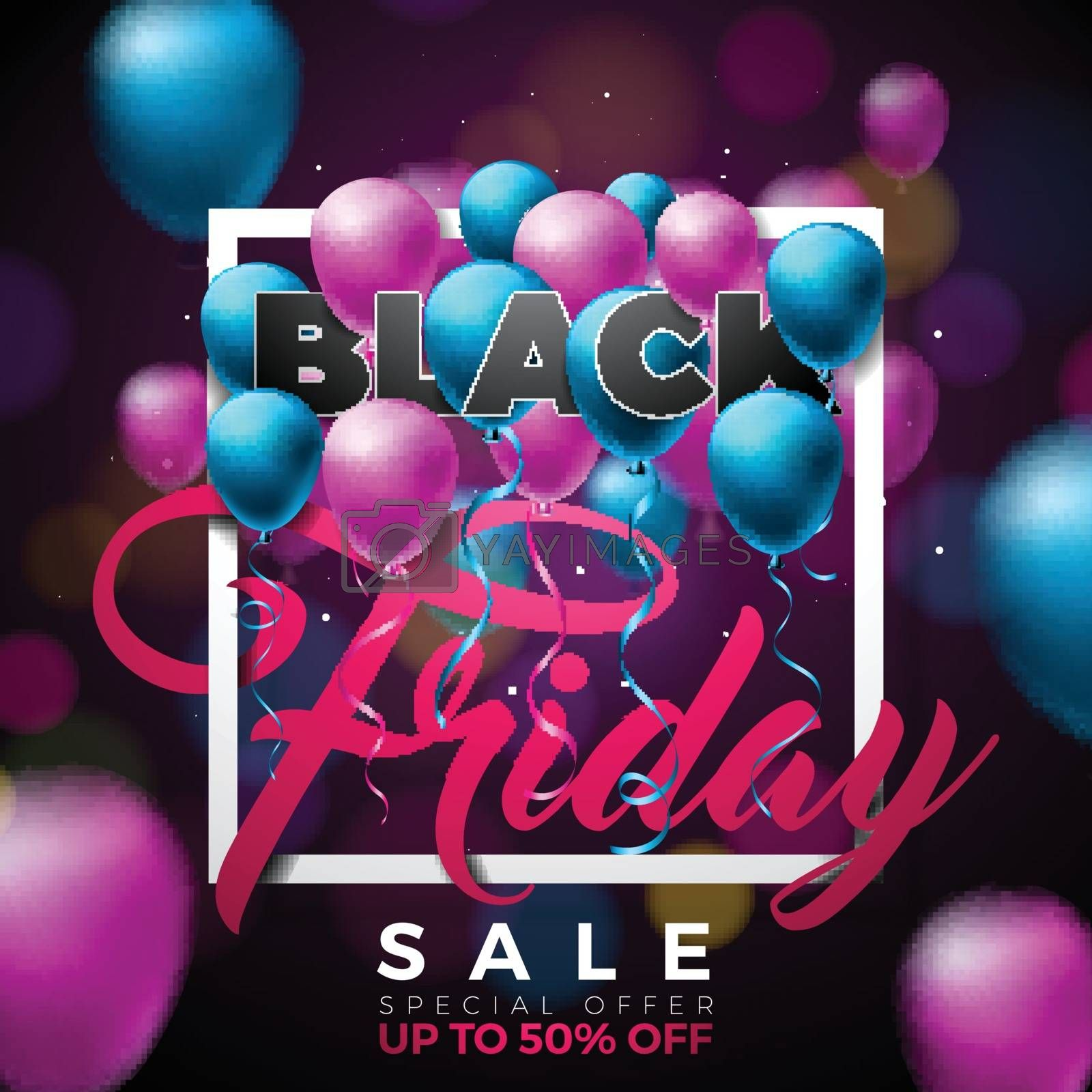 Black Friday Sale Vector Illustration with Lighting Garland on Shiny Background. Promotion Design Template for Banner or Poster