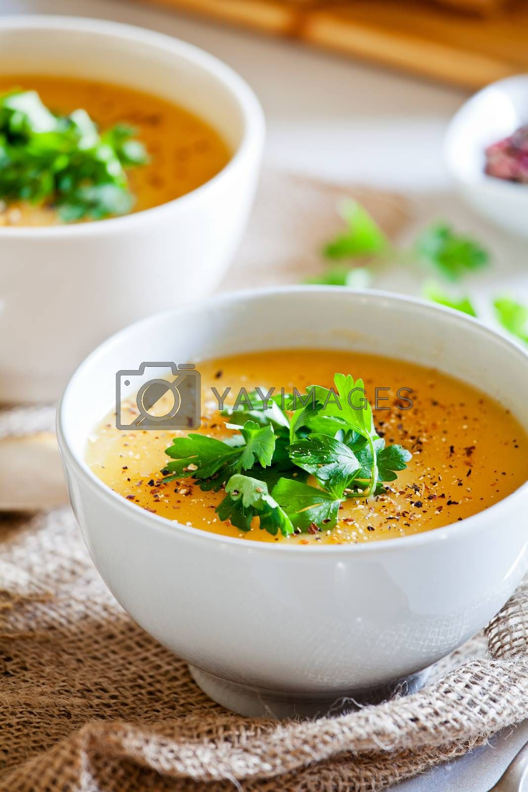 Couple of bowls of homemade vegetarian soup