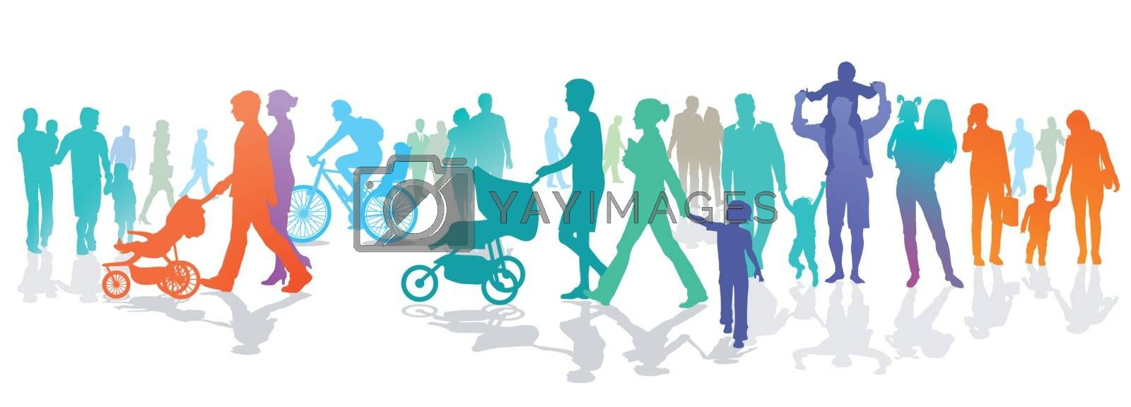 Person group with families and children, illustration