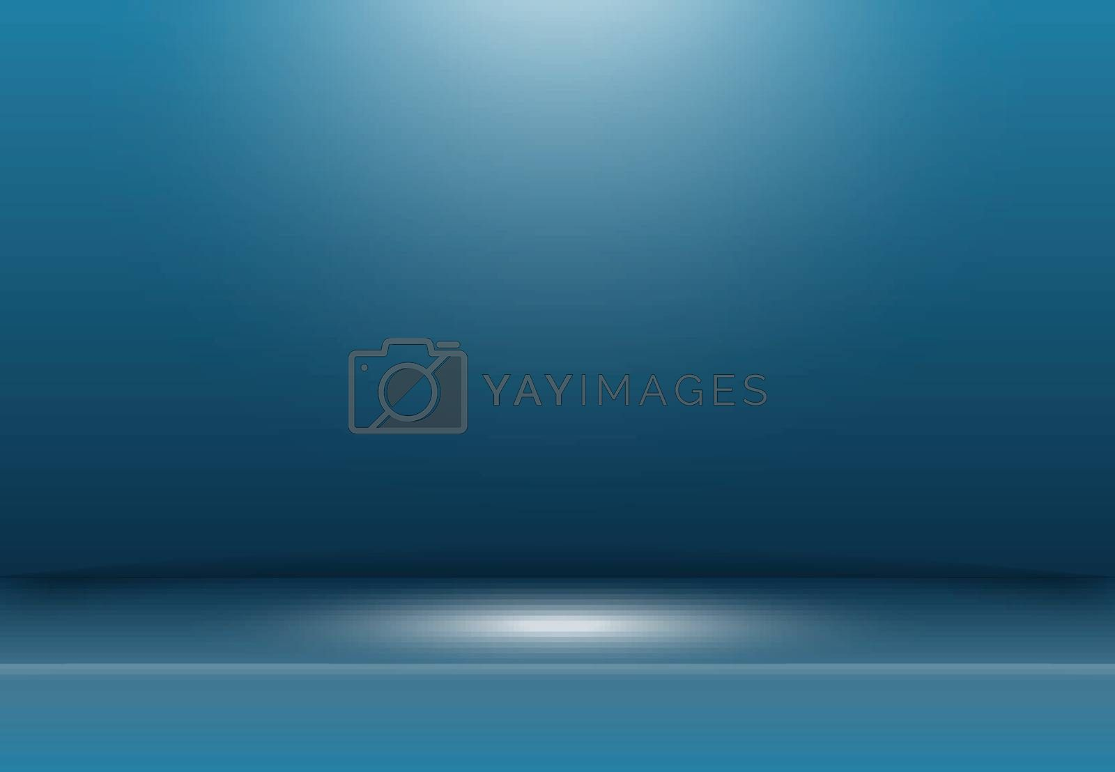 Abstract dark blue studio background with lighting on stage. Vector illustration