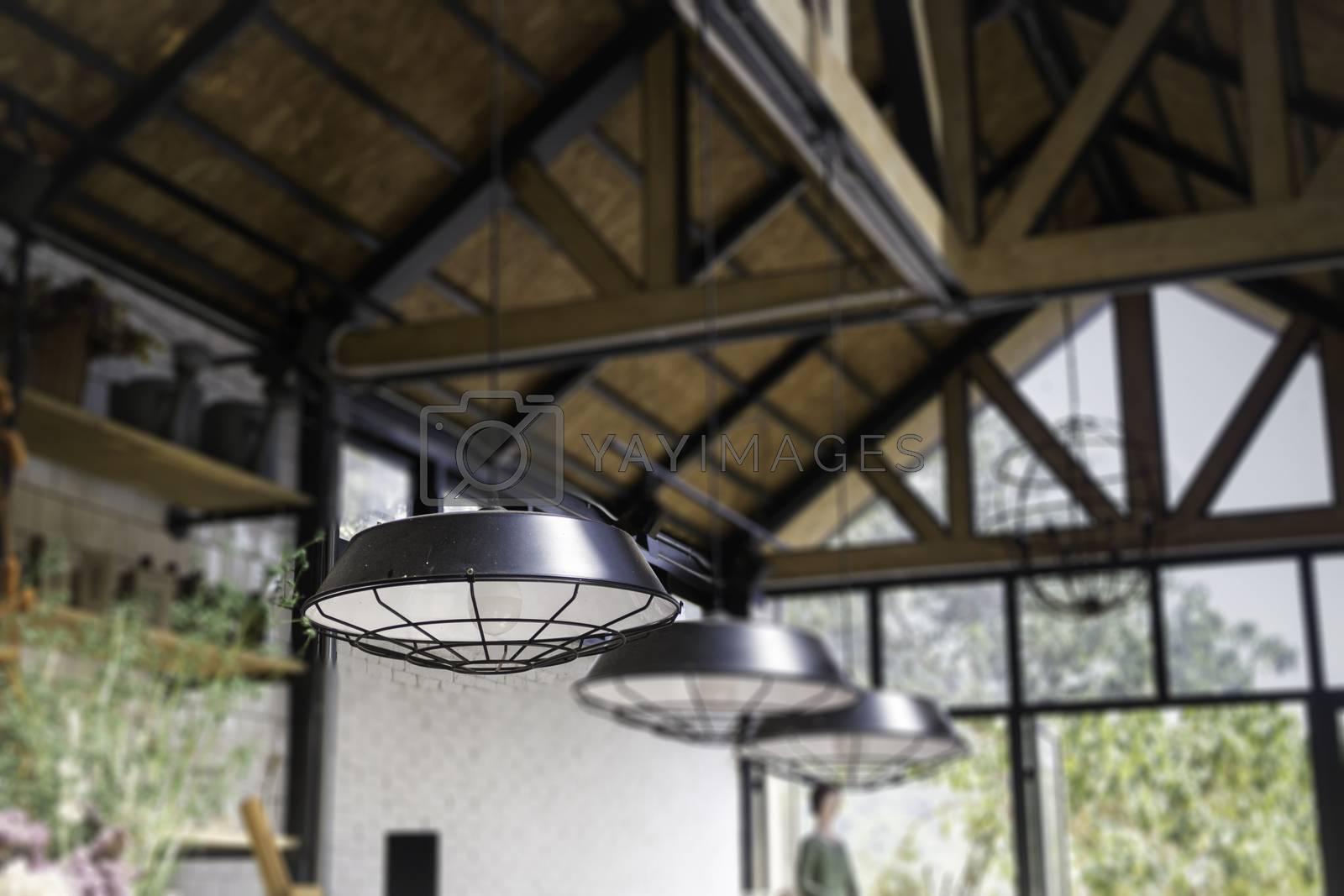 Decorating hanging vintage bulb lamp, stock photo