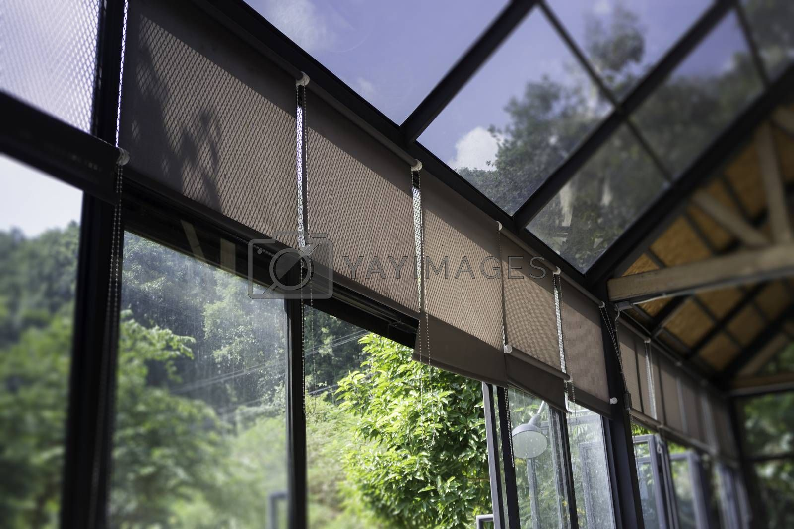 Modern loft rooftop with natural outside view, stock photo
