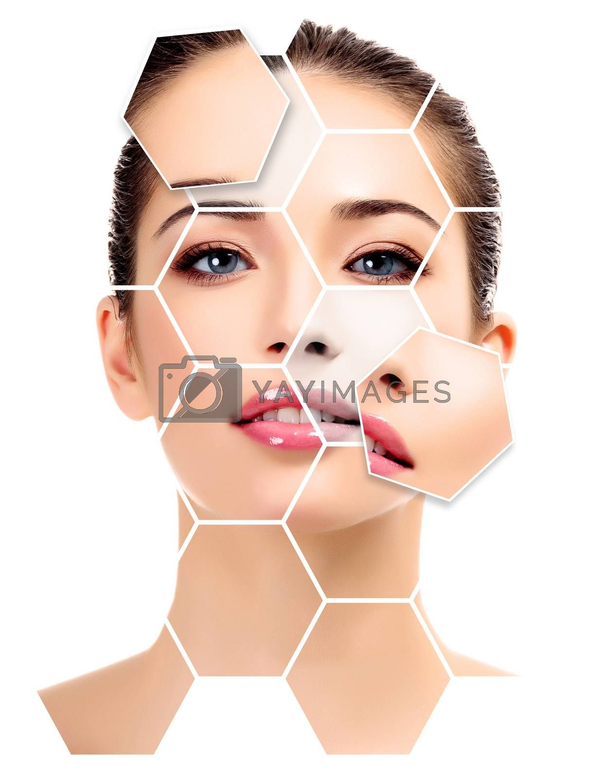 Beautiful young female with clean fresh skin, white background, skin treatment concept