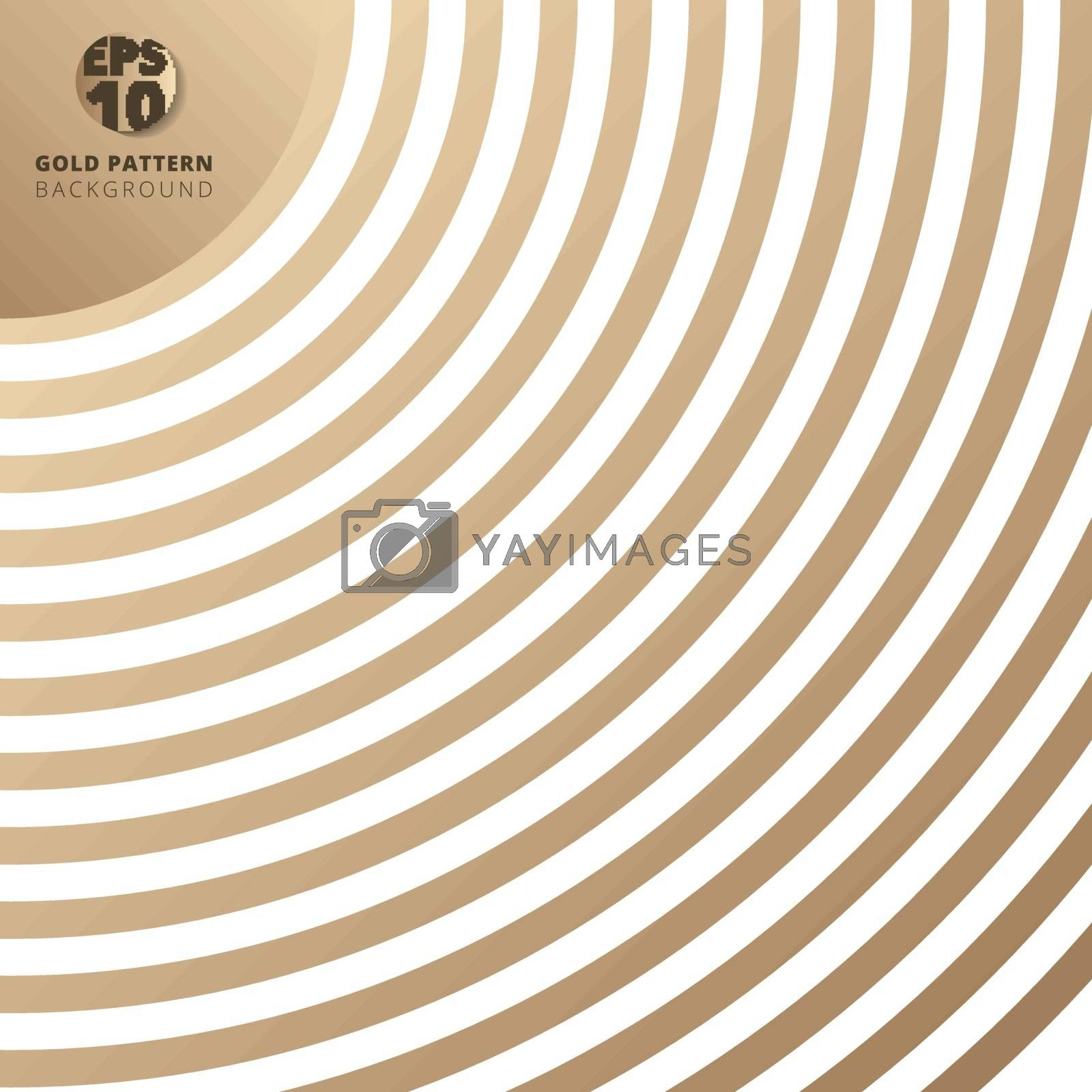 Abstract curve line pattern gold color on white background. Vector illustration.