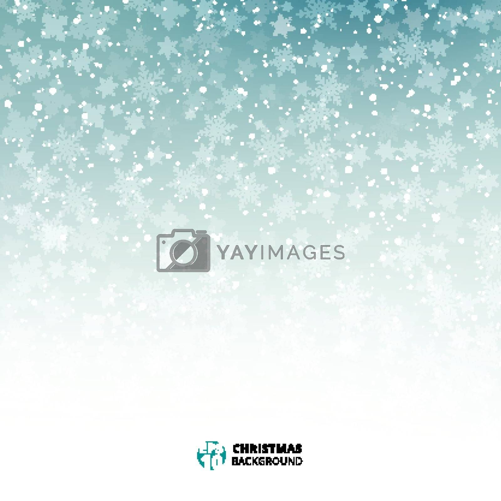 Winter blue and white background christmas made of snowflakes and snow with blank copy space for your text, Vector illustration