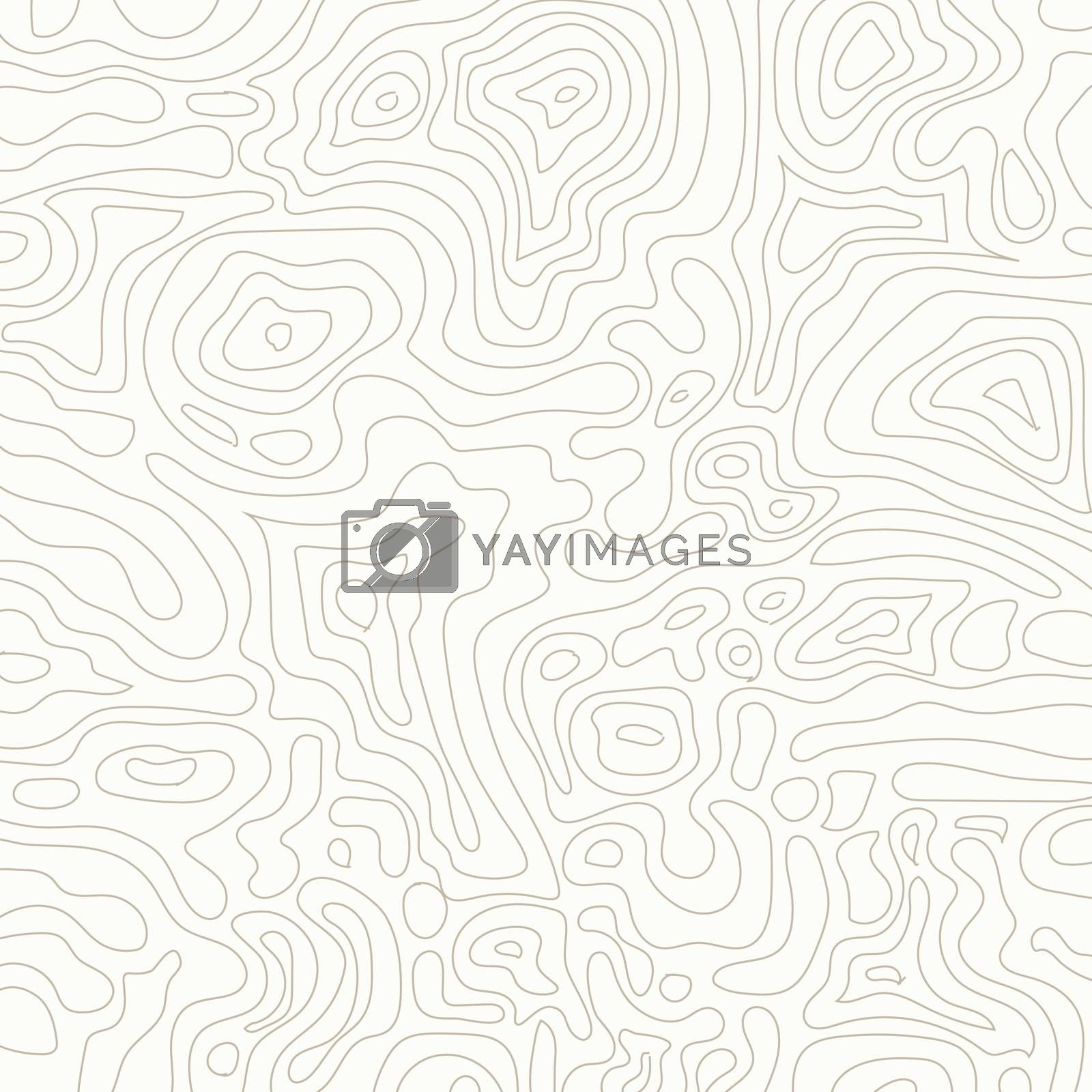 Topographic map on light brown background. Abstract vector illustration