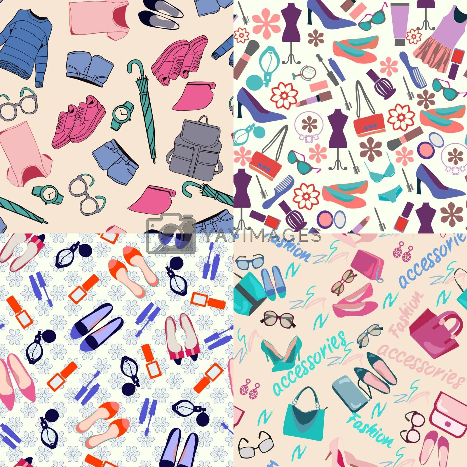 vector  pattern set of fashion woman clothes, accessories and beauty.  Fashion shopping  Backgrounds for wallpapers, web page backgrounds, surface textures, textile.