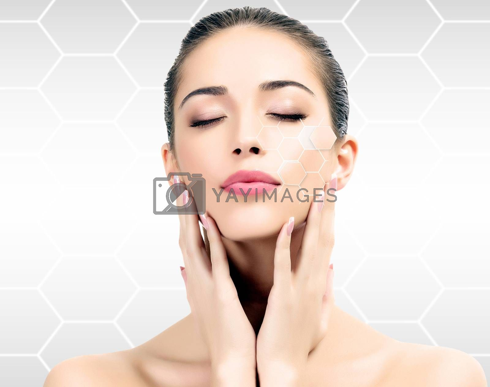 Beautiful girl with clean fresh skin, skin treatments concept