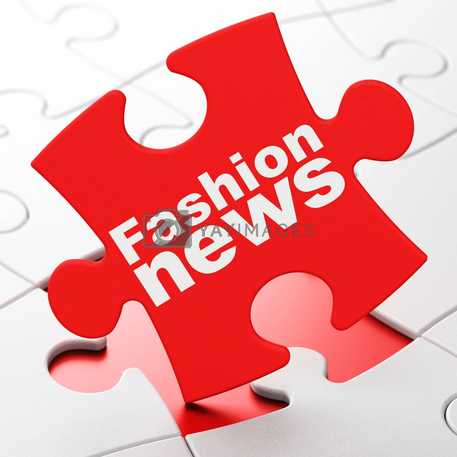 News concept: Fashion News on Red puzzle pieces background, 3D rendering