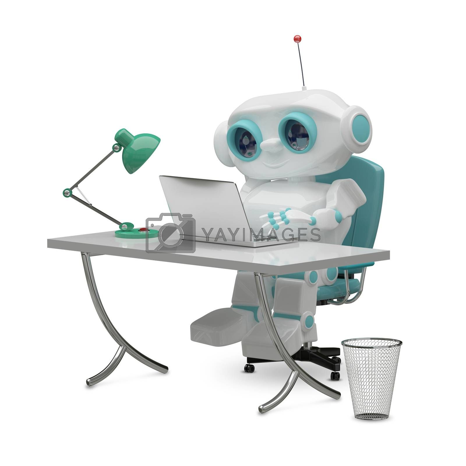 3D Illustration of the Little Robot Behind the Table on White Background