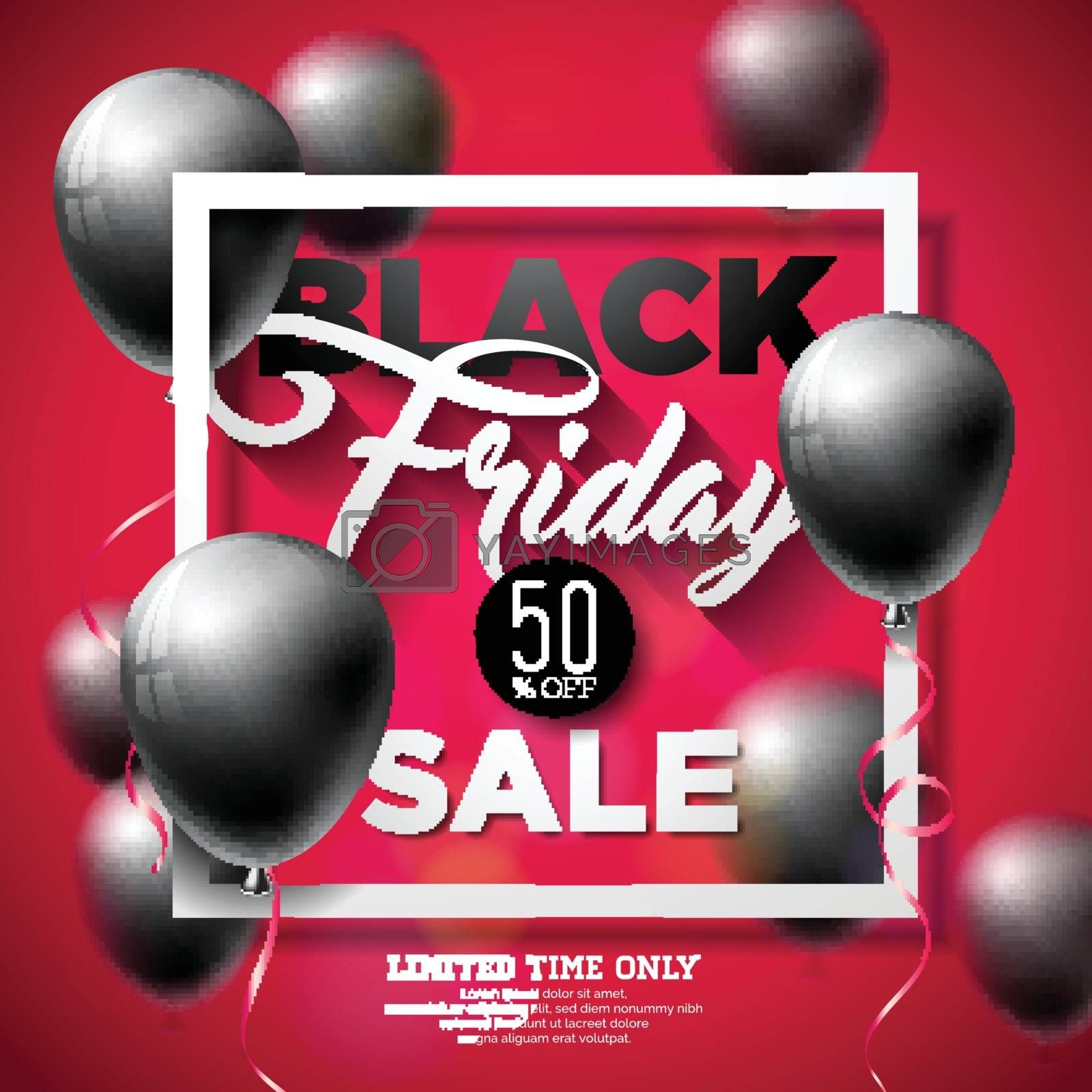 Black Friday Sale Vector Illustration with Shiny Balloons on Red Background. Promotion Design Template for Banner or Poster