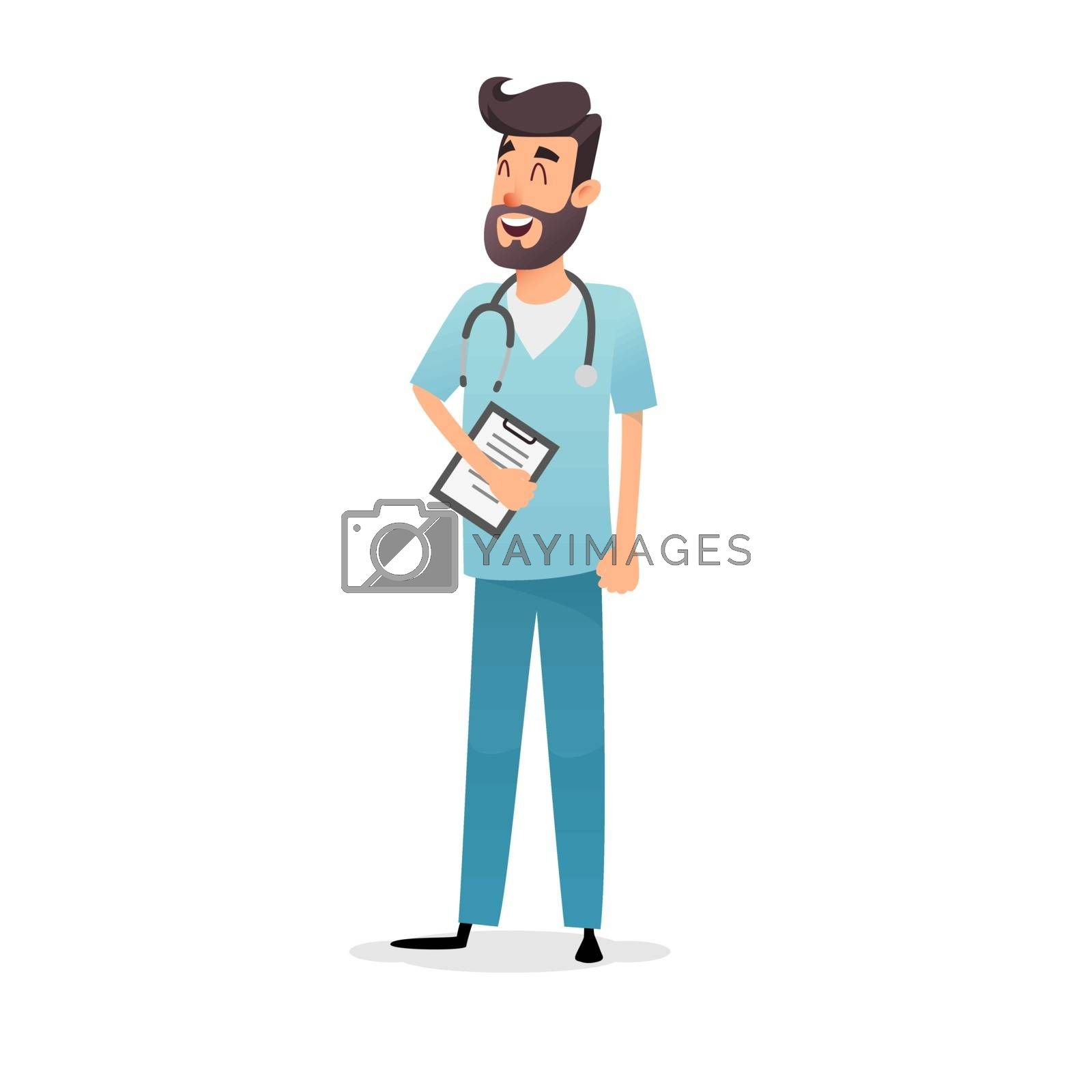 Friendly cartoon physician with stethoscope and diagnosis. Happy doctor cardiologist, pediatrician or pharmacist. Professional medic in blue uniform. Medical concept for the design of postcards, posters, flyers.