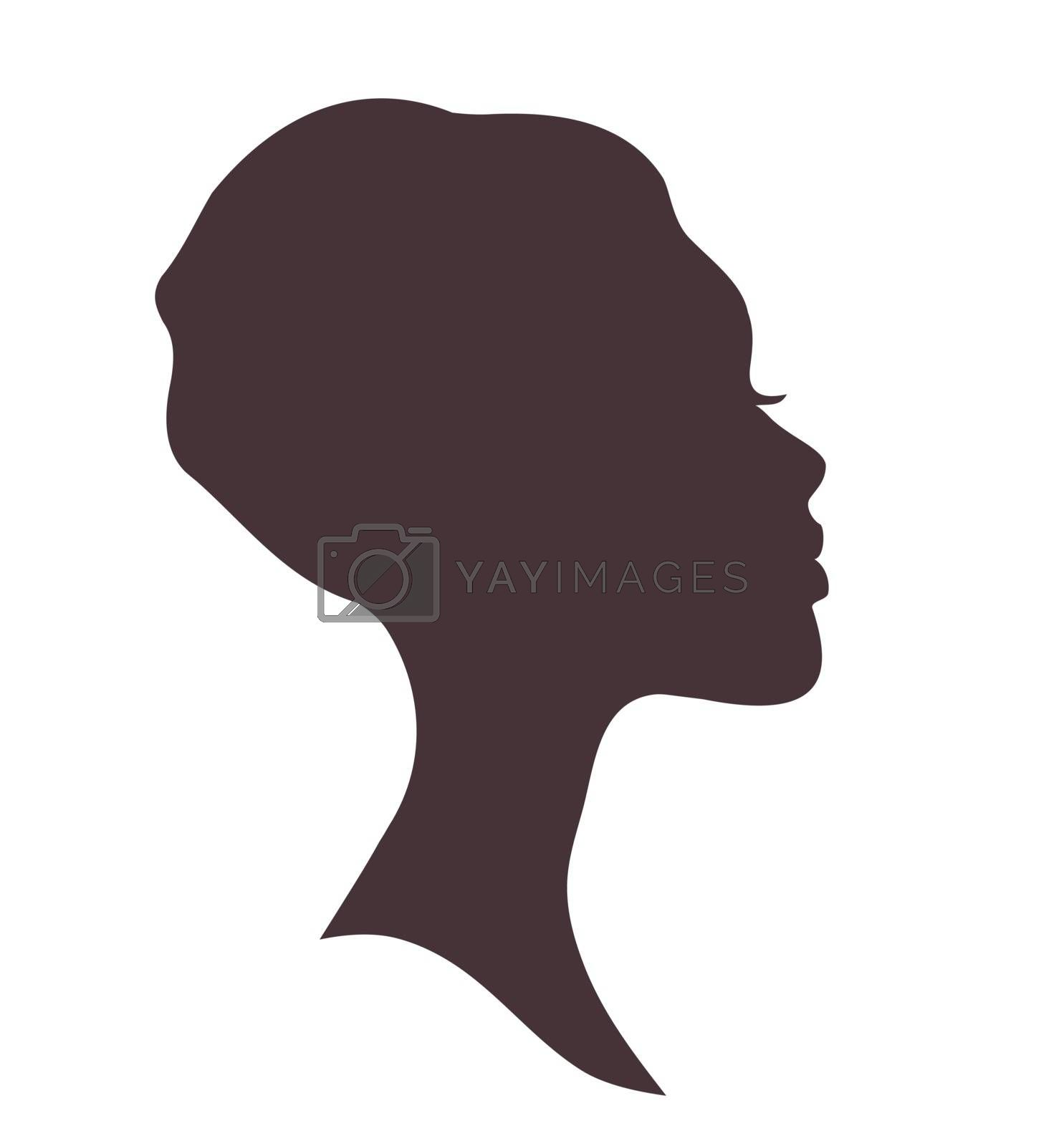 Young woman head silhouette with stylish african national headdress.