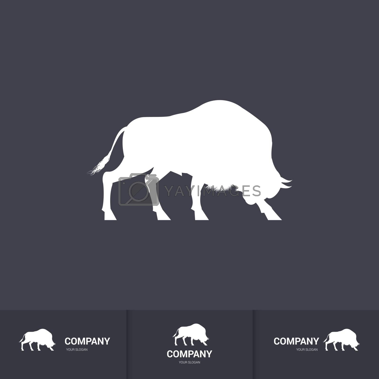 Stylized Bison for Mascot Logo Template on Dark Background