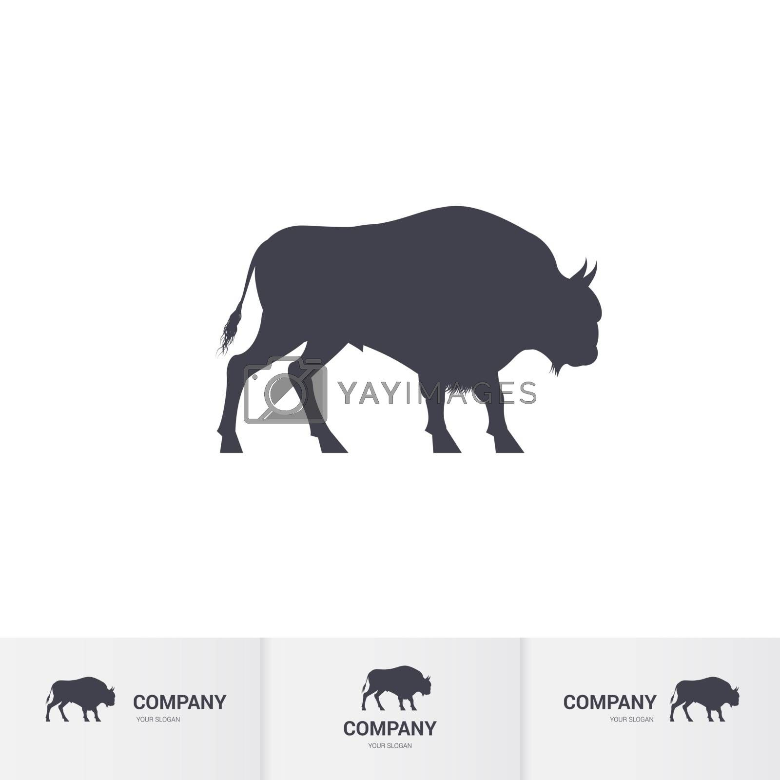 Simple Bison for Mascot Logo Template on White Background