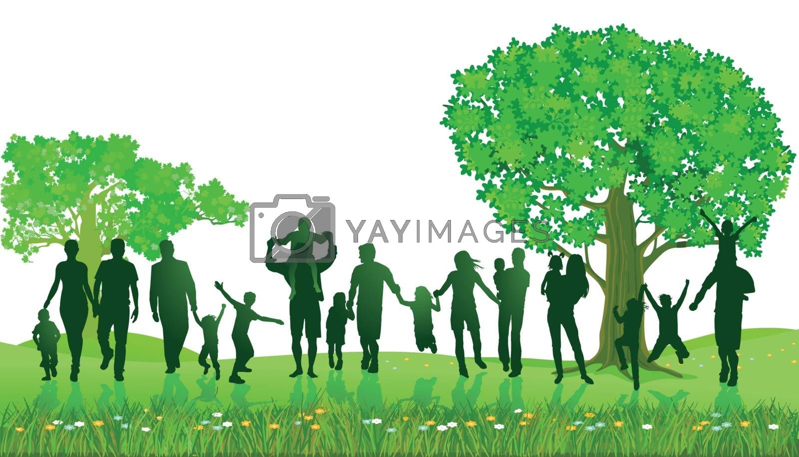Cheerful families together in the park, illustration