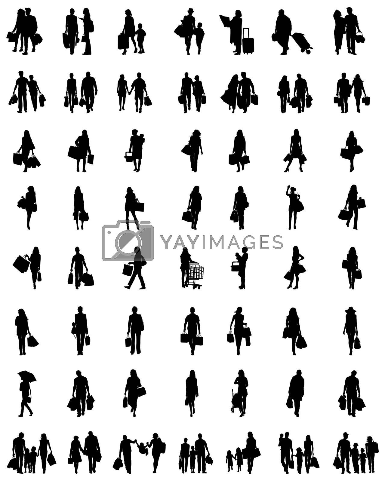Black silhouettes of people in the shopping