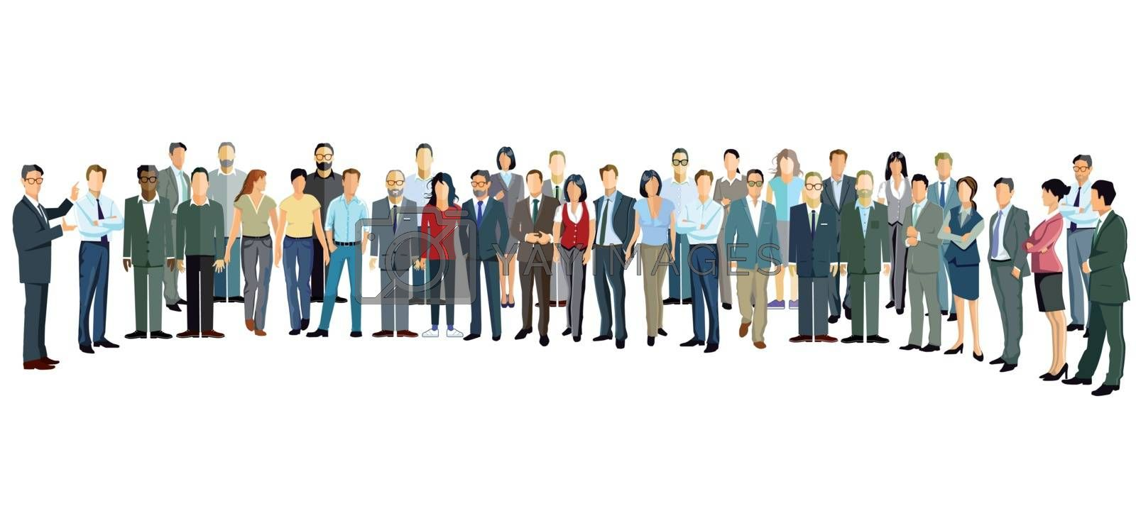 Group of people stand upright