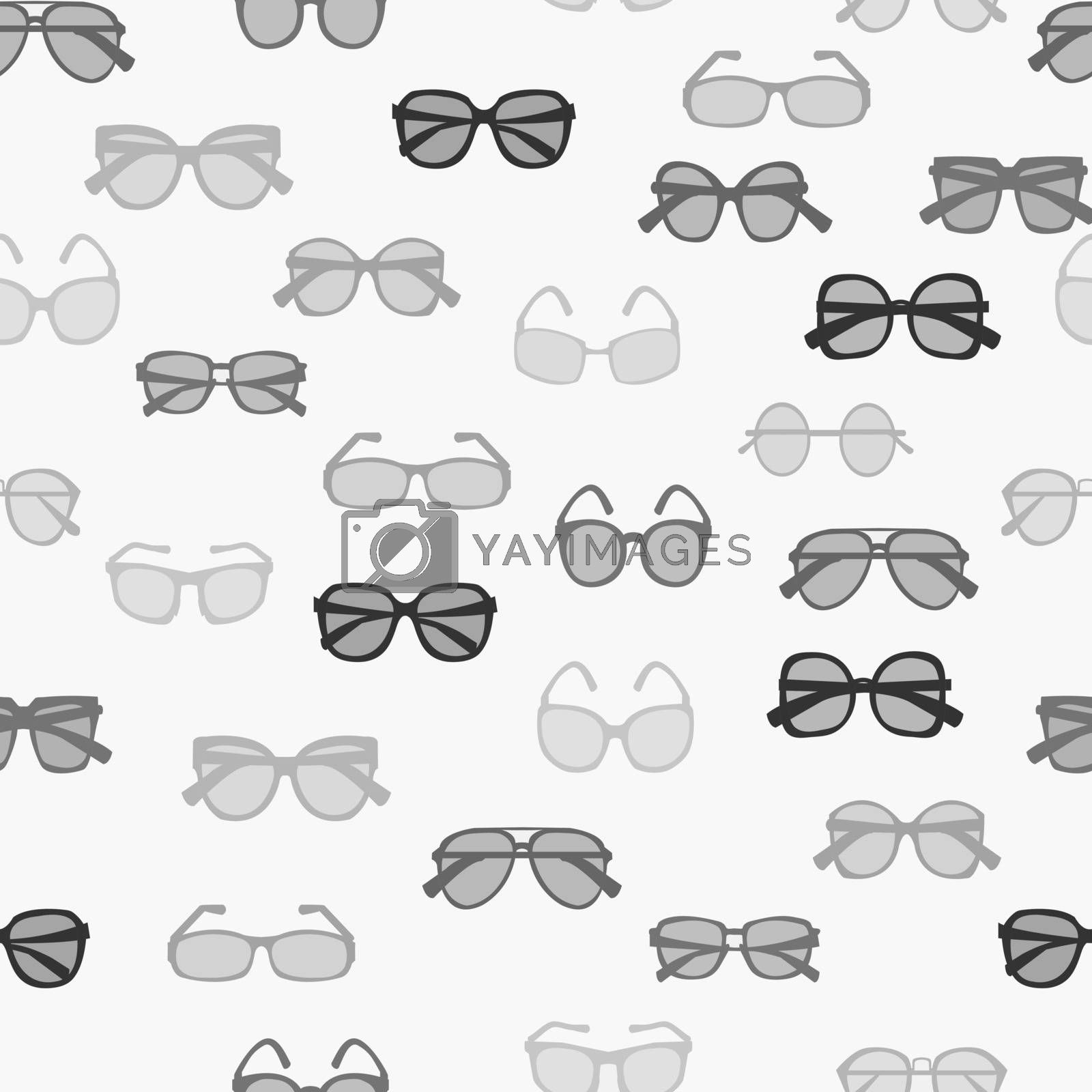 Vector seamless pattern with grayscale fashion retro glasses-illustration