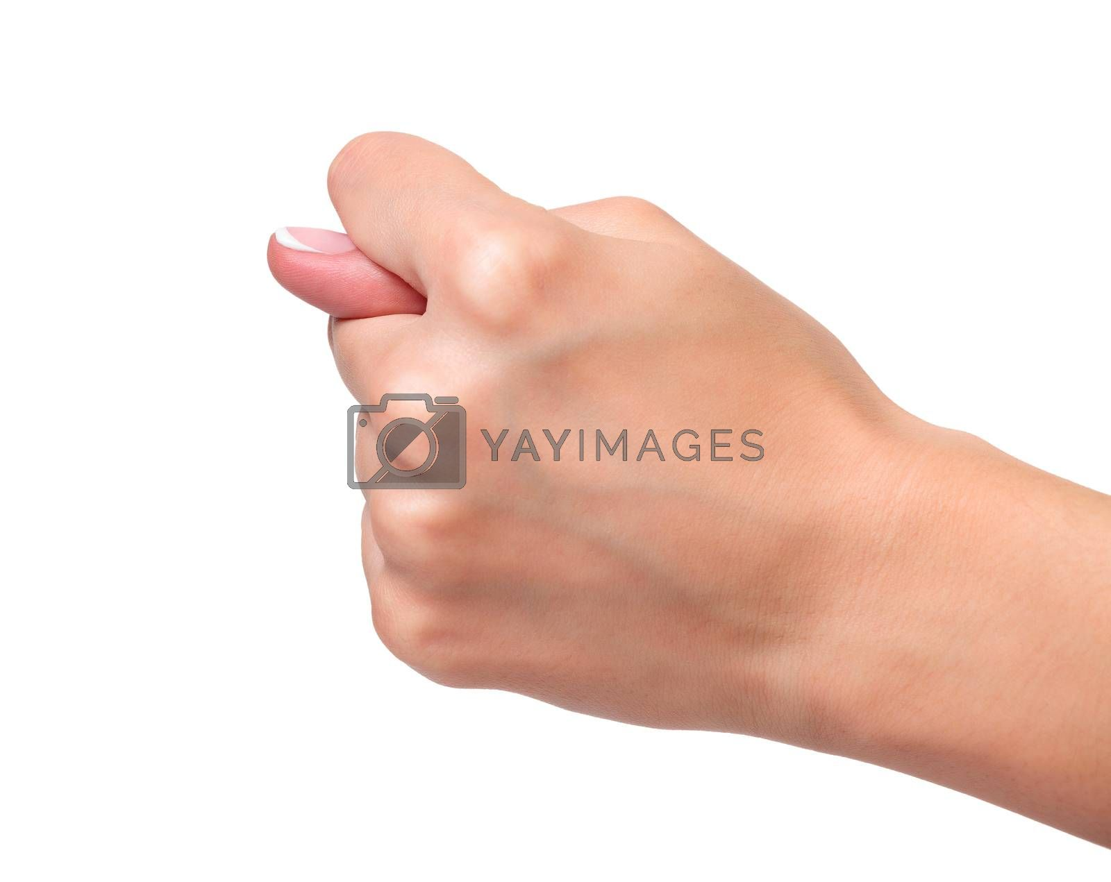Closeup shot of hand gesture, isolated on white background