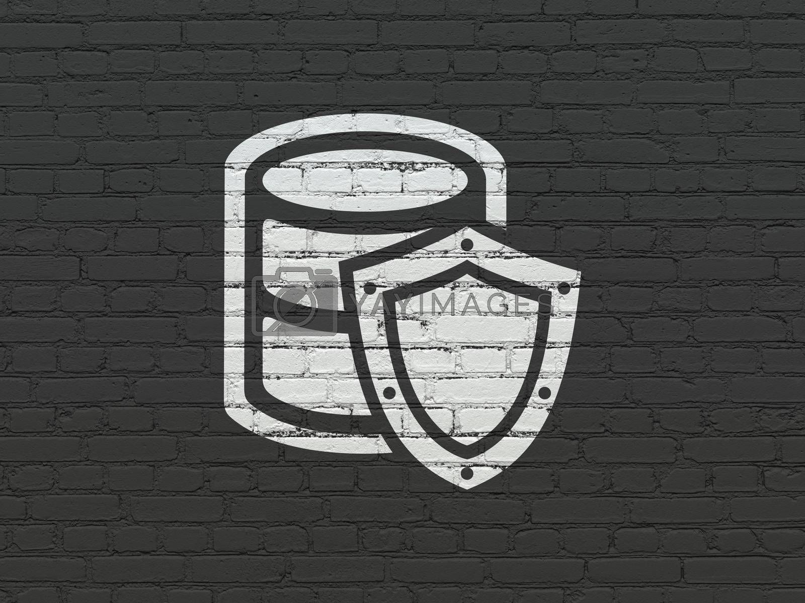 Programming concept: Painted white Database With Shield icon on Black Brick wall background