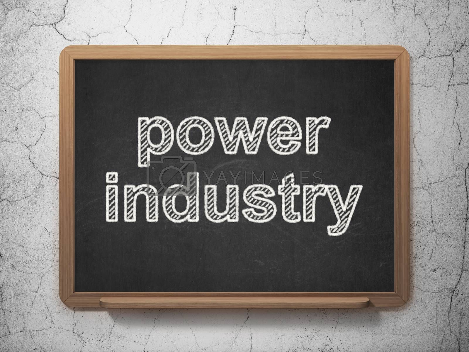 Manufacuring concept: text Power Industry on Black chalkboard on grunge wall background, 3D rendering