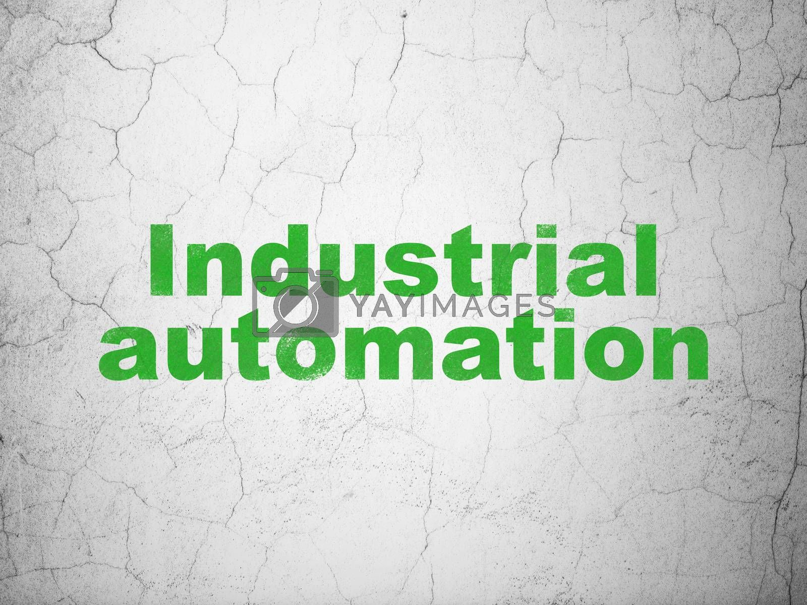 Industry concept: Green Industrial Automation on textured concrete wall background
