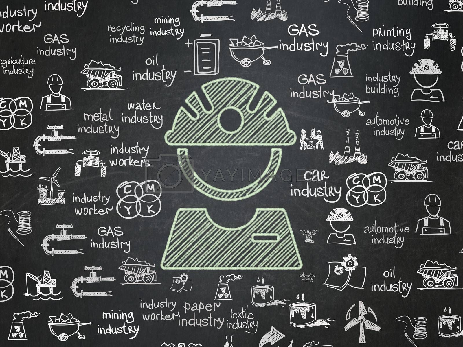 Industry concept: Chalk Green Factory Worker icon on School board background with  Hand Drawn Industry Icons, School Board