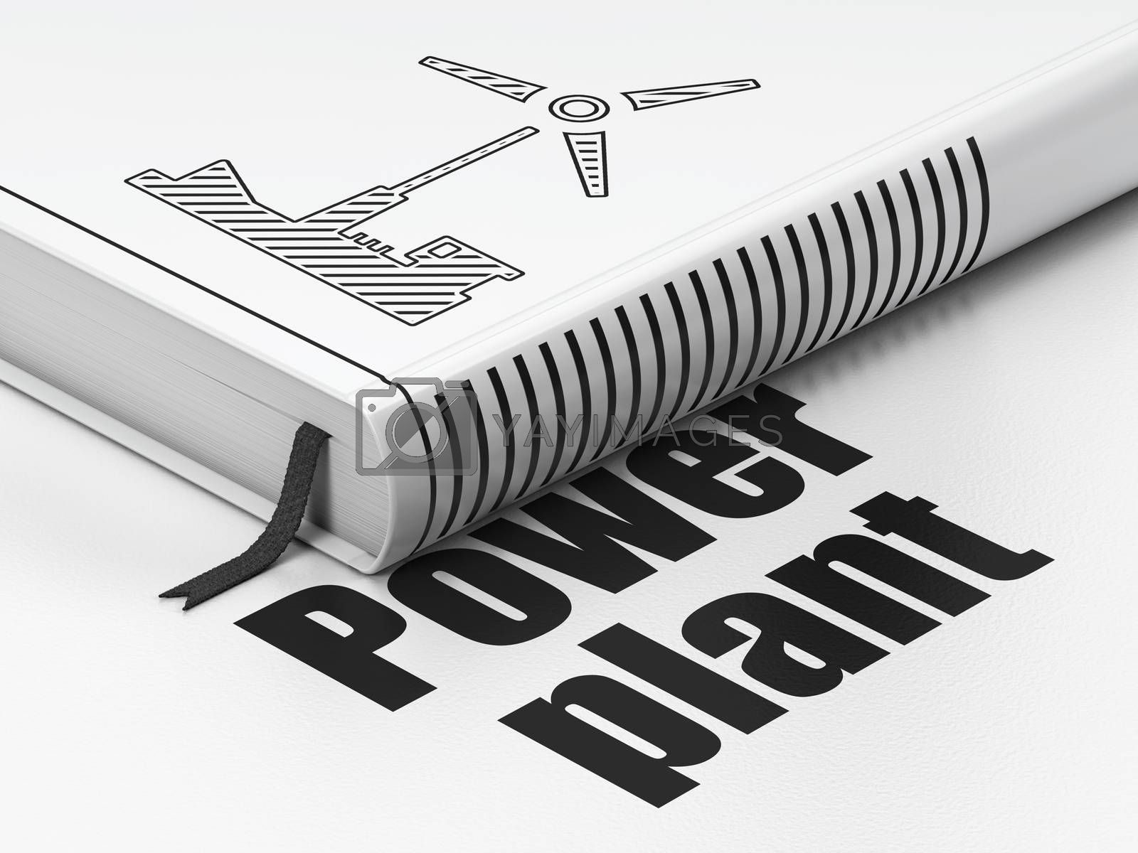 Industry concept: closed book with Black Windmill icon and text Power Plant on floor, white background, 3D rendering