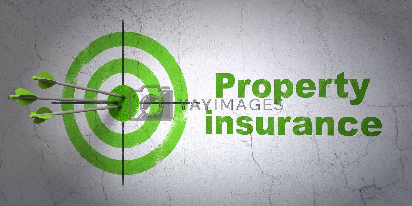 Success Insurance concept: arrows hitting the center of target, Green Property Insurance on wall background, 3D rendering