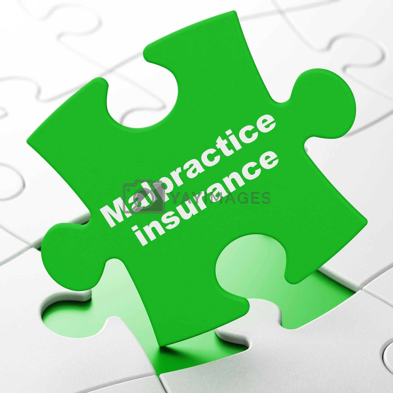 Insurance concept: Malpractice Insurance on Green puzzle pieces background, 3D rendering