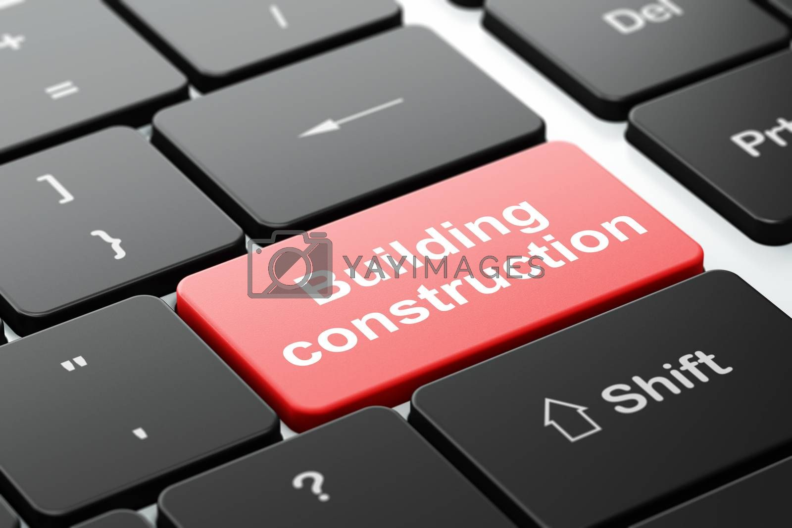 Constructing concept: computer keyboard with word Building Construction, selected focus on enter button background, 3D rendering