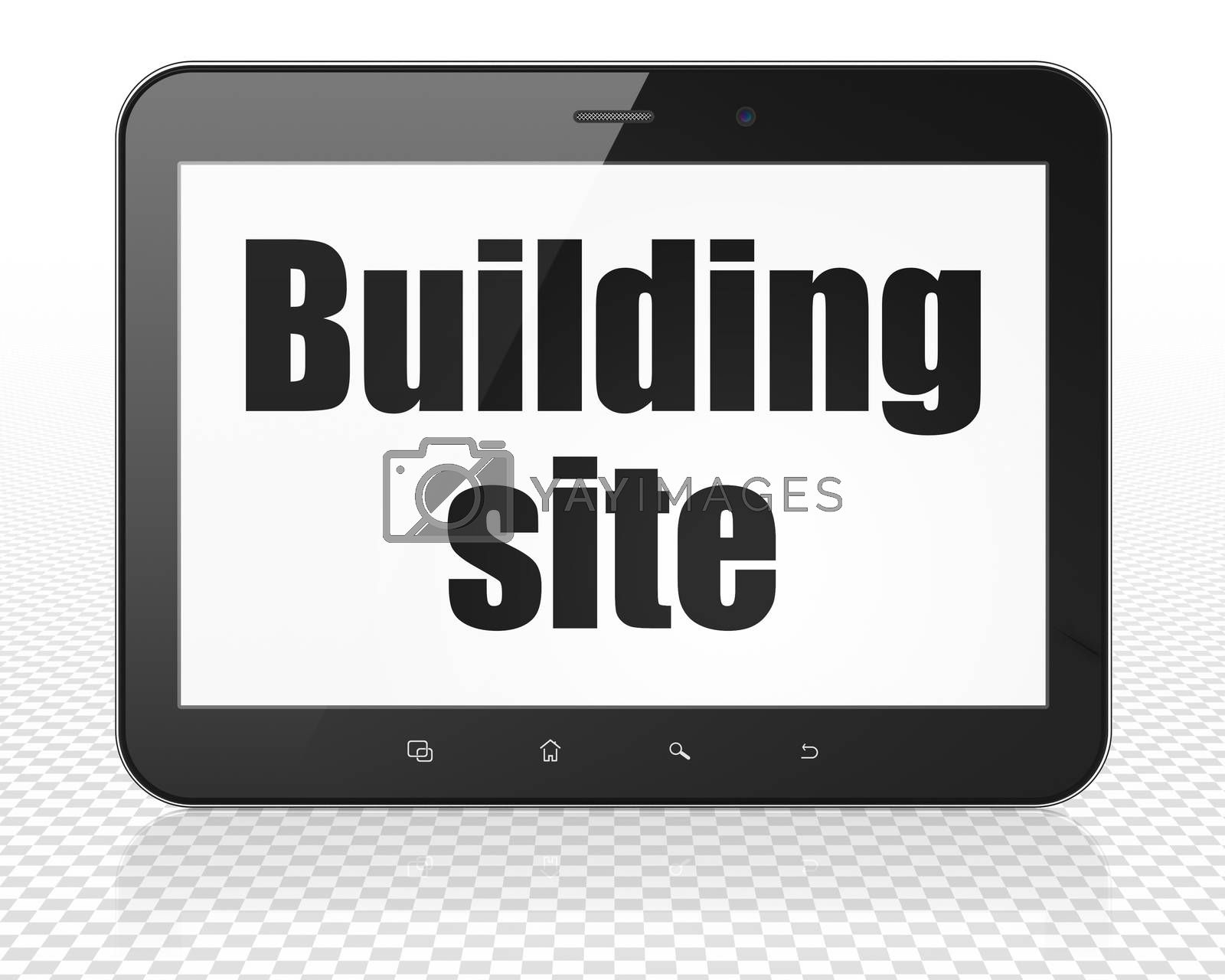 Building construction concept: Tablet Pc Computer with black text Building Site on display, 3D rendering