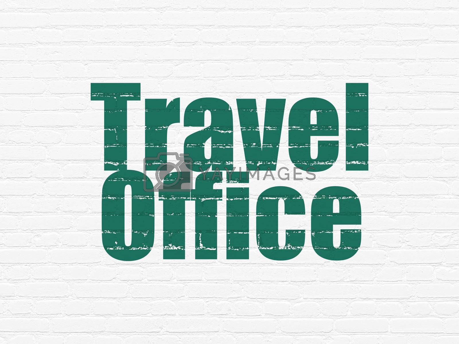 Vacation concept: Painted green text Travel Office on White Brick wall background